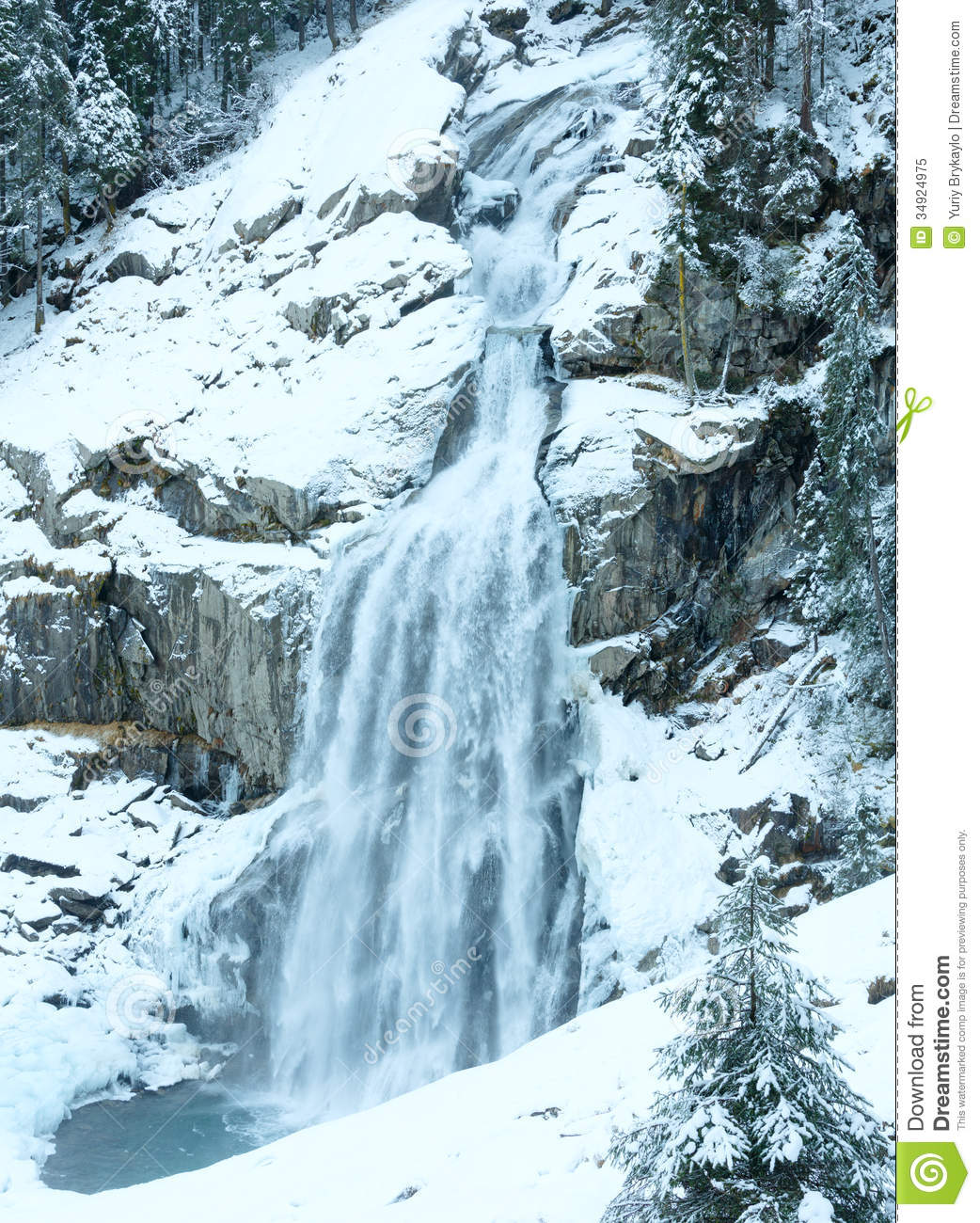 Alps Waterfall Winter View Stock Image. Image Of
