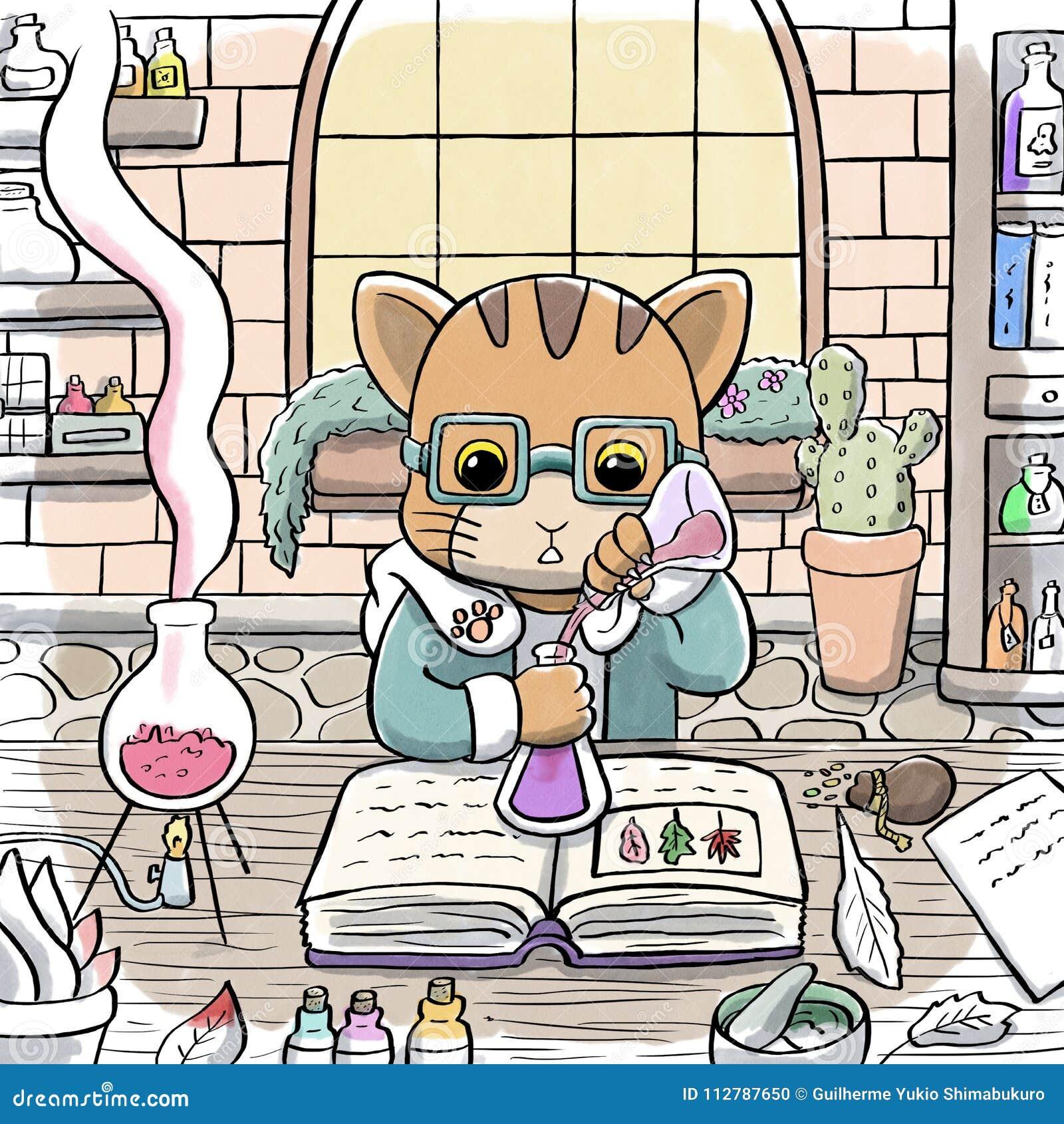 Alquimista Cat Brewing una poción