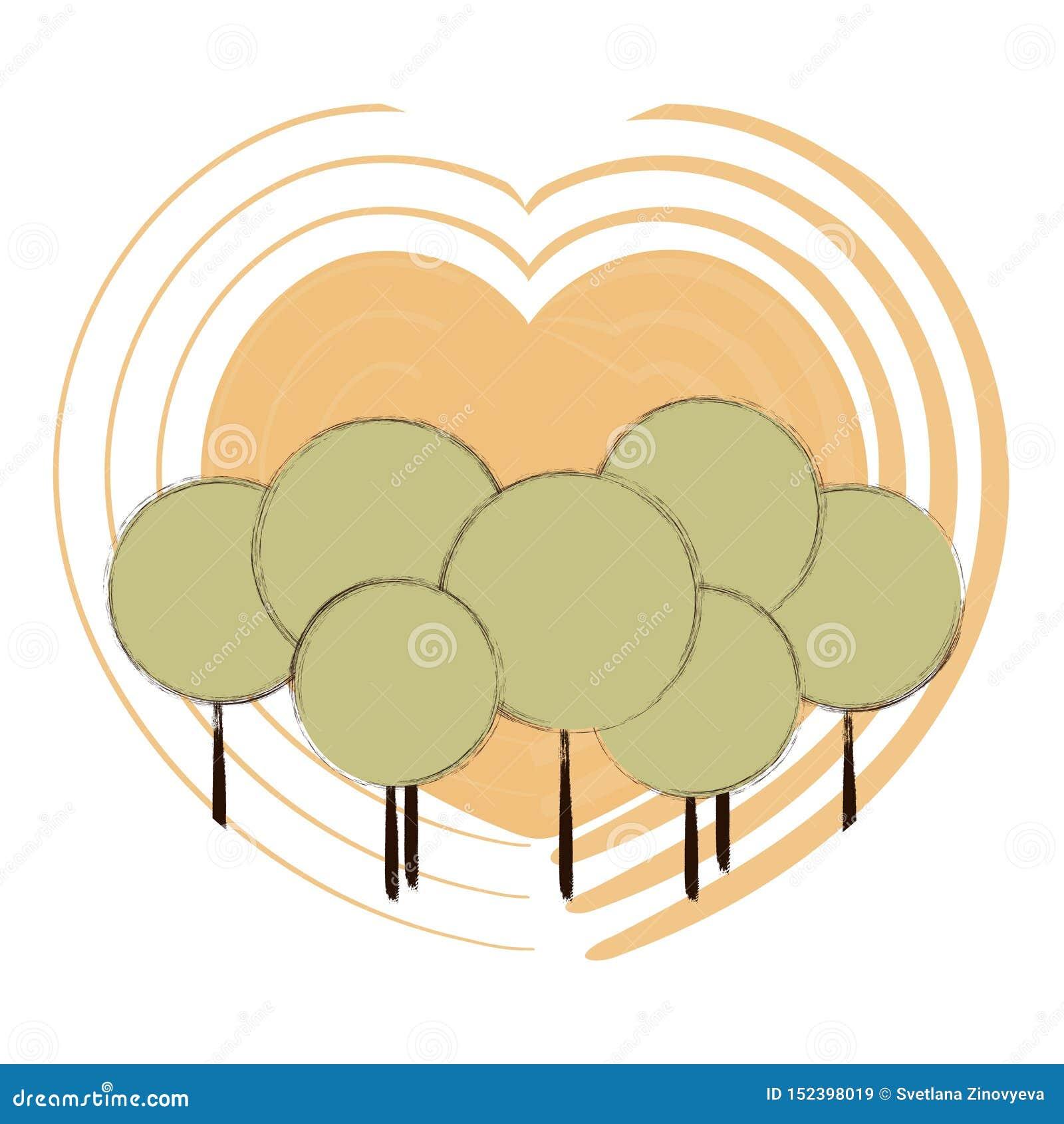 Alrededor de los árboles en el fondo de corazones amarillos Vector