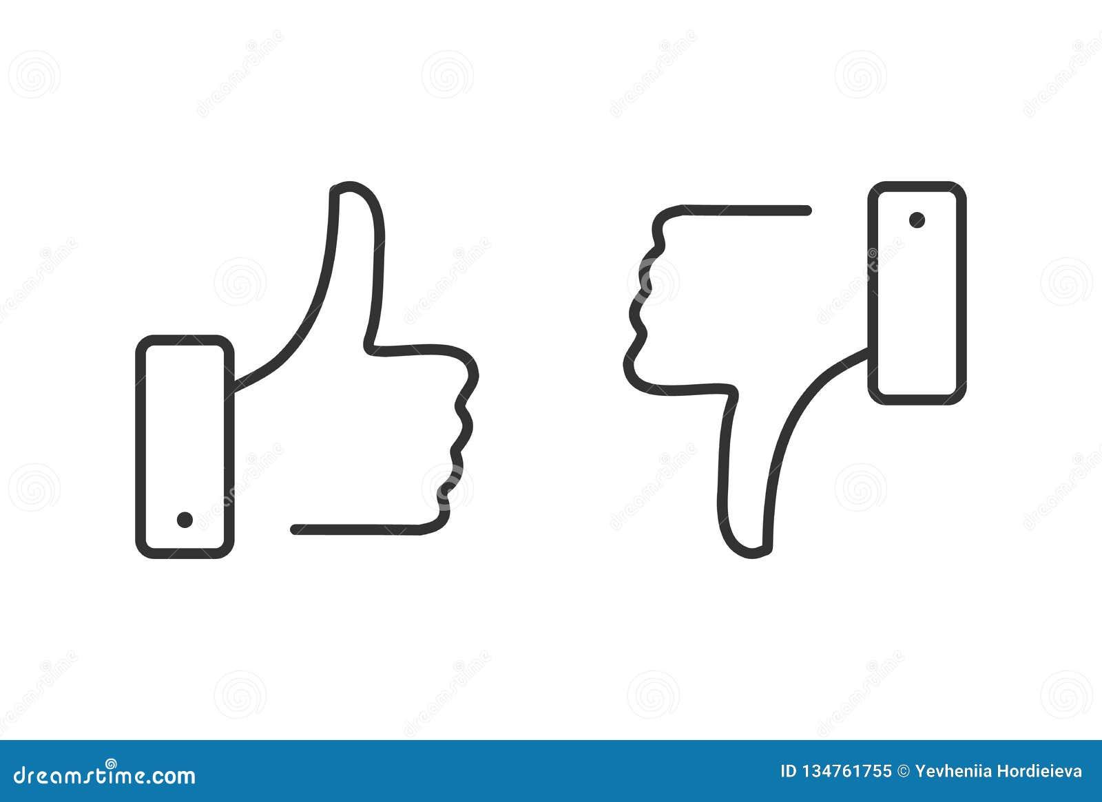 Als en afkeer geplaatste lijnpictogrammen Duimen omhoog en duimen neer Afkeer en gelijkaardige knoop De Kwaliteit van de premie M