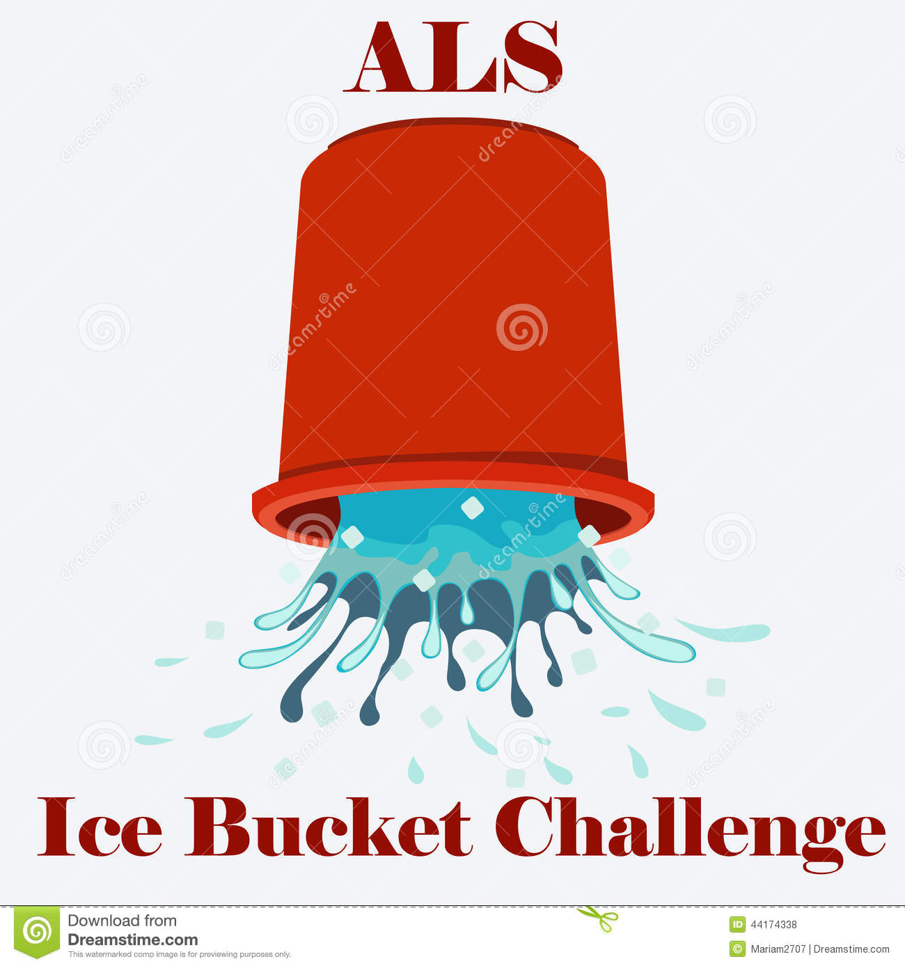 Flat vector illustration of ice cold water spilling from red bucket ...