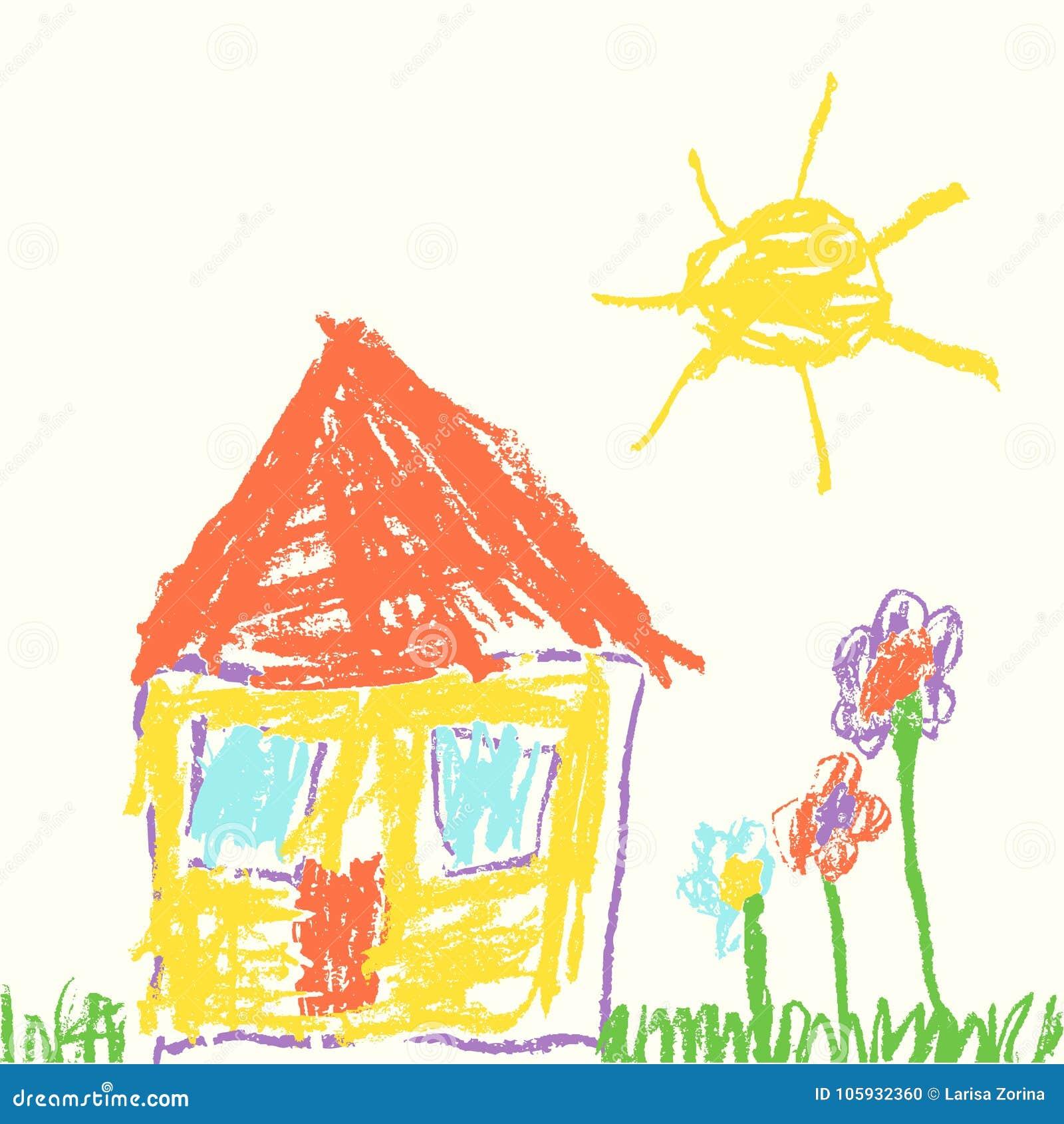 Als kind` s hand getrokken huis De tekeningsgras van het waskleurpotlood, kleurrijke bloemen en zon