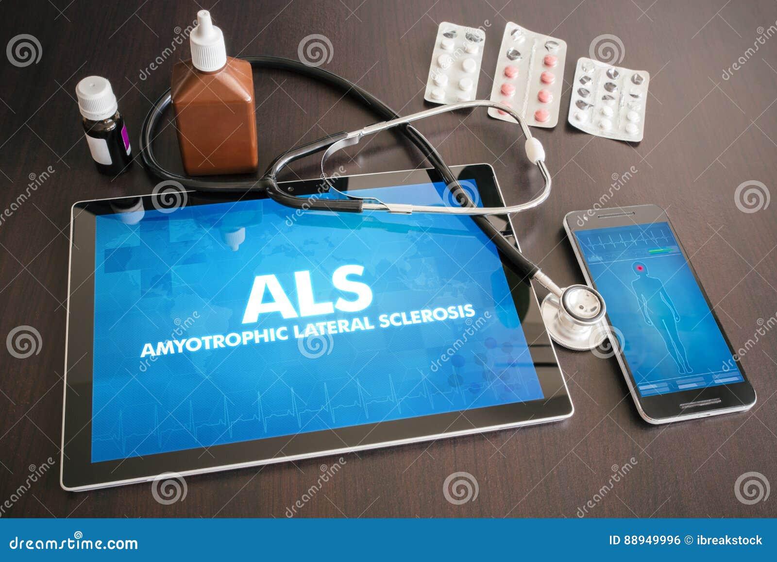 ALS (neurological disorder) diagnosis medical concept on tablet