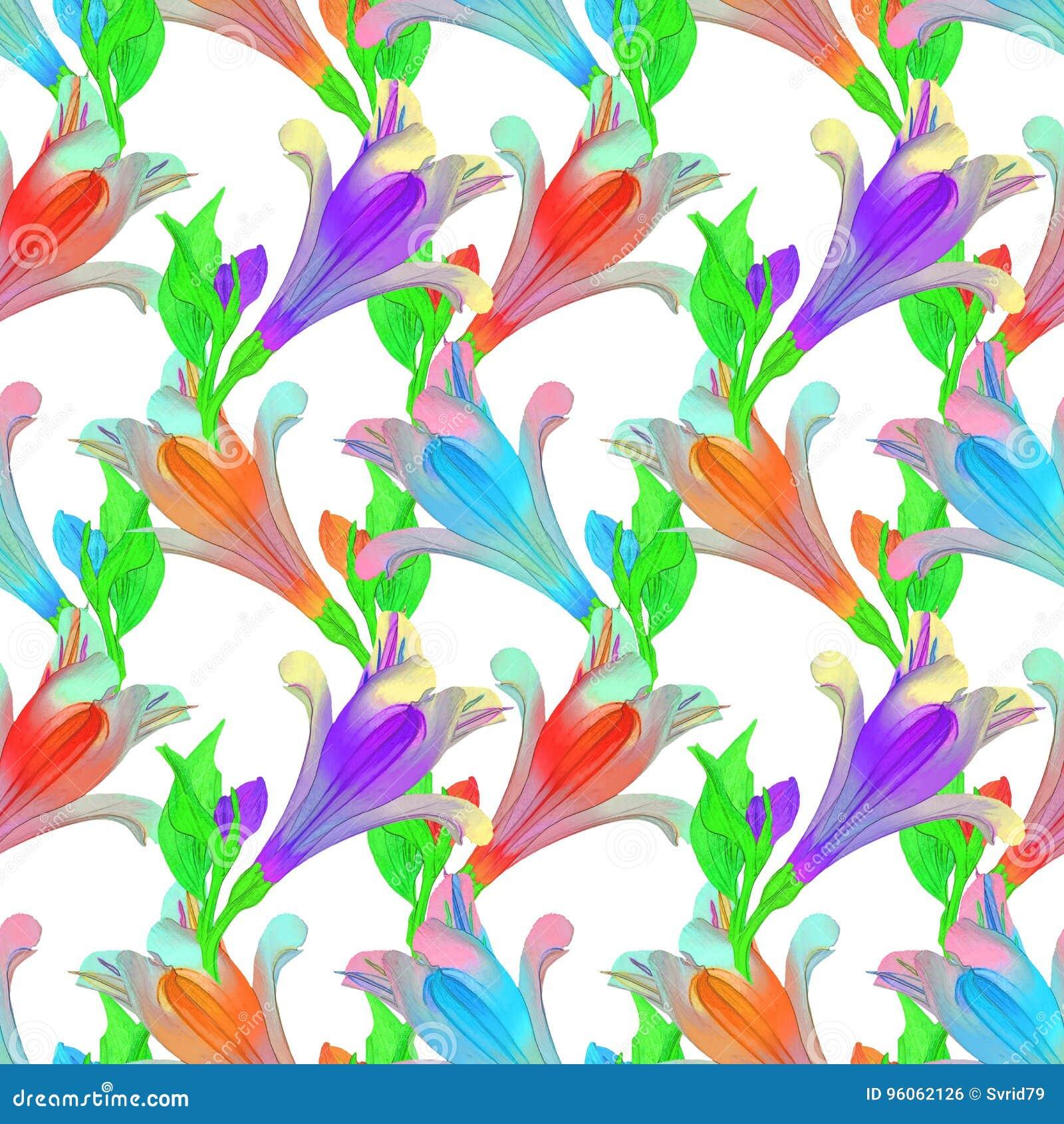 Alstroemeria Texture sans couture de modèle des fleurs floral