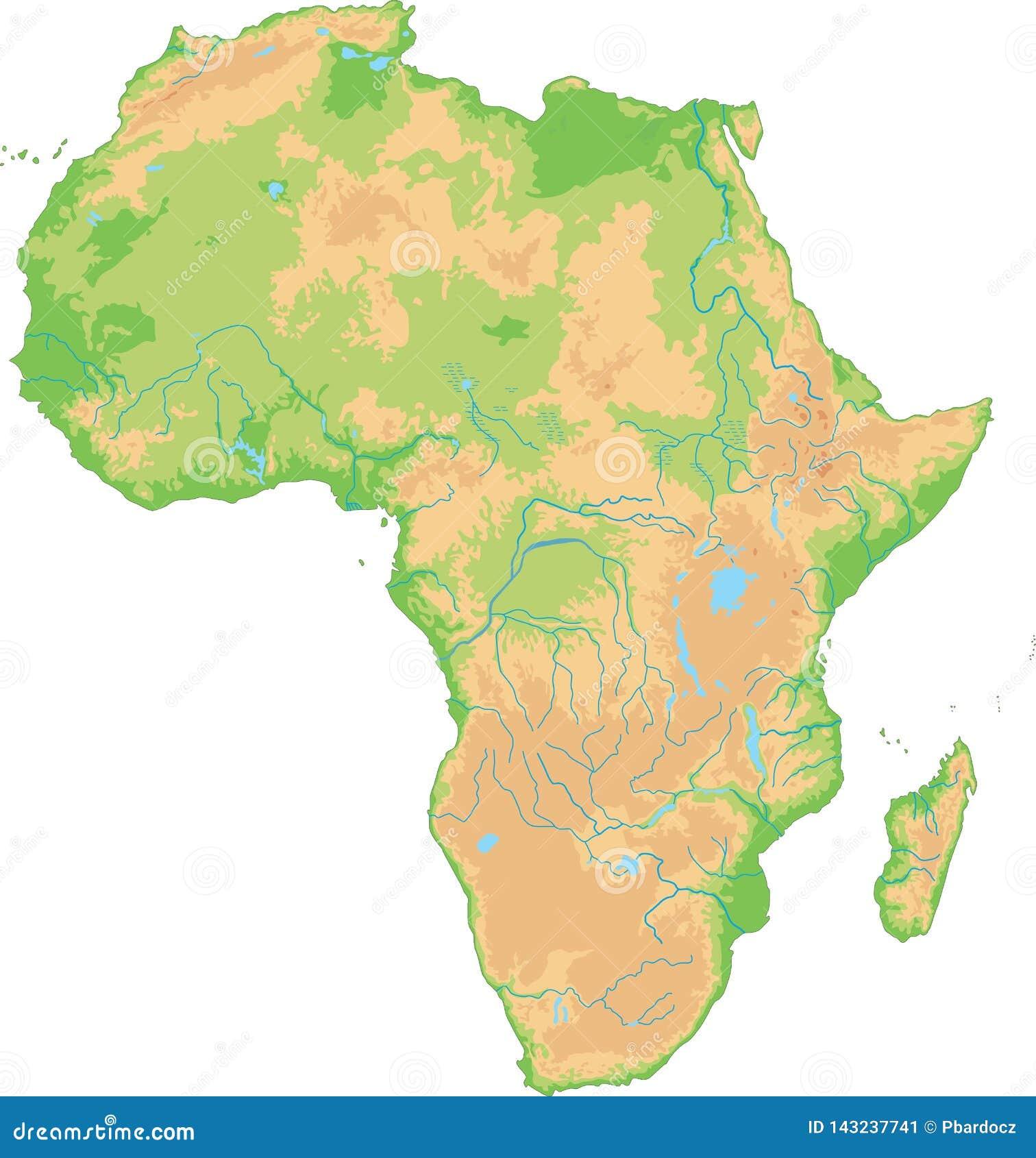Cartina Dell Africa Fisica E Politica.Alta Mappa Fisica Dettagliata Dell Africa Illustrazione Vettoriale Illustrazione Di Geografia Citta 143237741