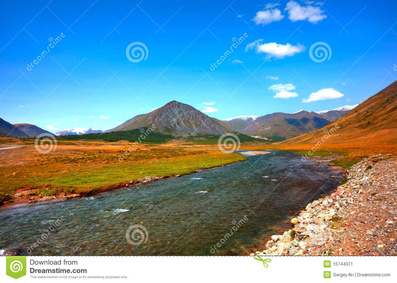 Altai Mountains. Beautiful Highland Landscape Stock Image - Image ...