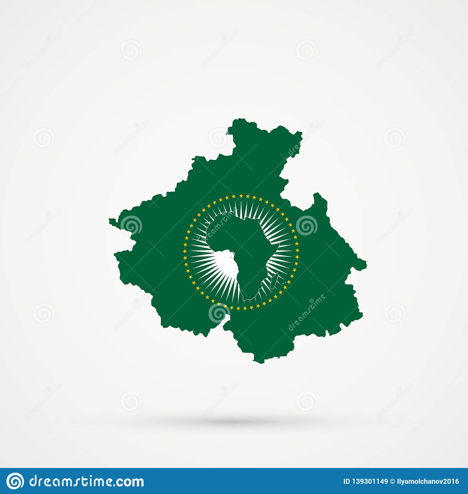 African Union Map.Altai Republic Map In African Union Au Flag Colors Editable Vector
