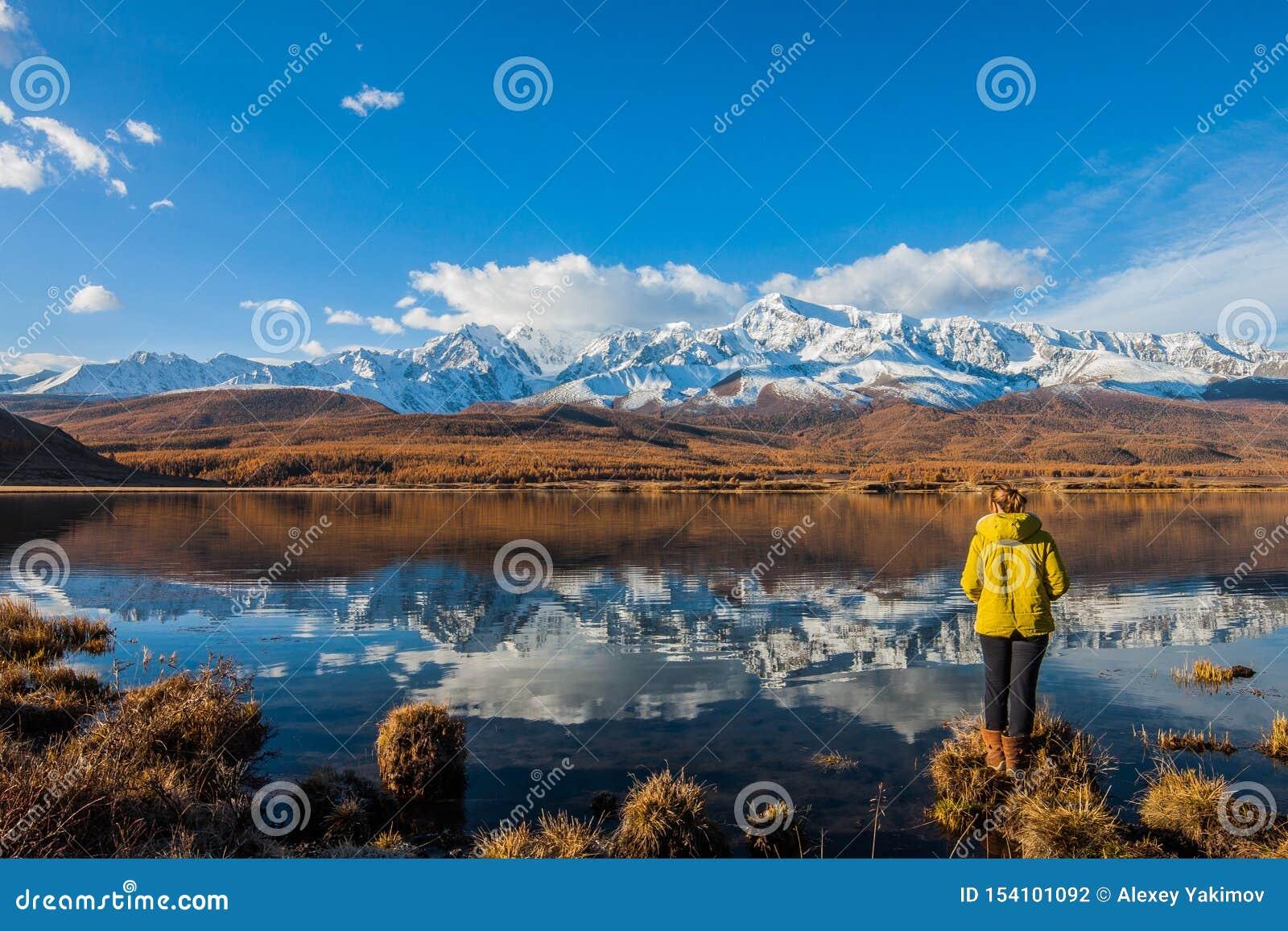Altai-Republik Das Mädchen ist ein Tourist durch den Gebirgssee gegen den Hintergrund von schneebedeckten Spitzen und von Lärche