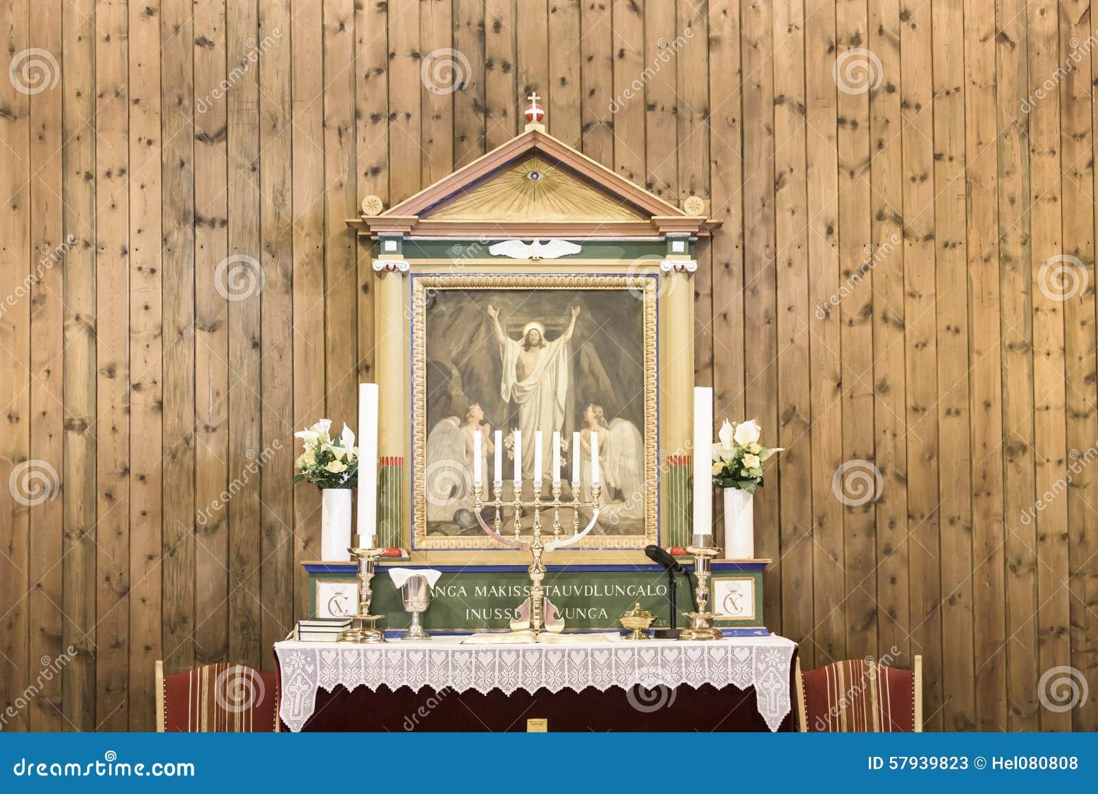 Altar Church Sisimiut, Greenland Stock Photo