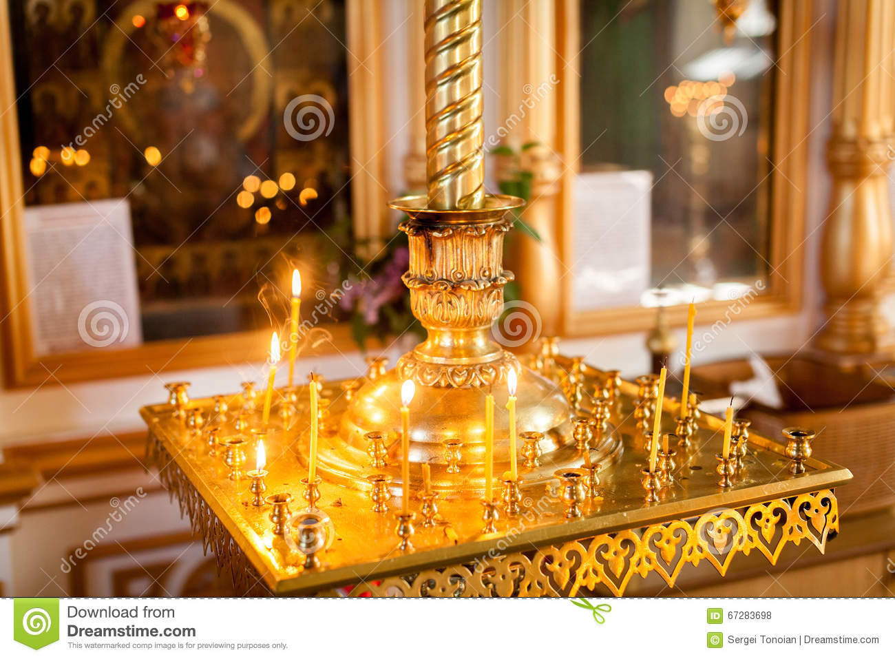 Altar With Cross And Candles Stock Photo - Image of ...