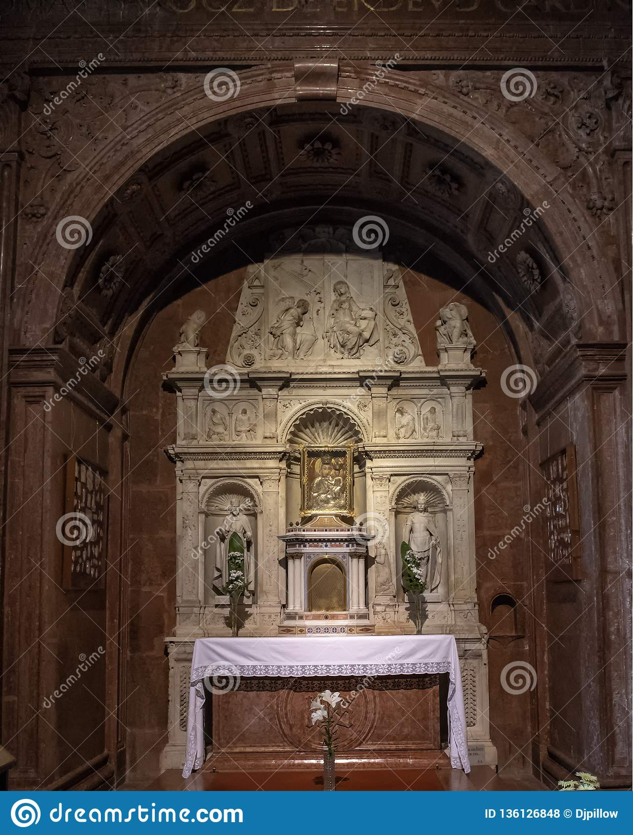 Altar dedicated to the Blessed Virgin Mary and the infant Jesus inside the Esztergom Basilica, Esztergom, Hungary