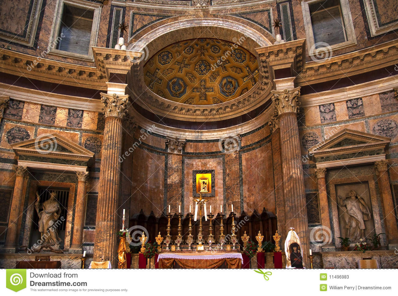 Altar Gold Icon Pantheon Rome Italy Stock Photos Image