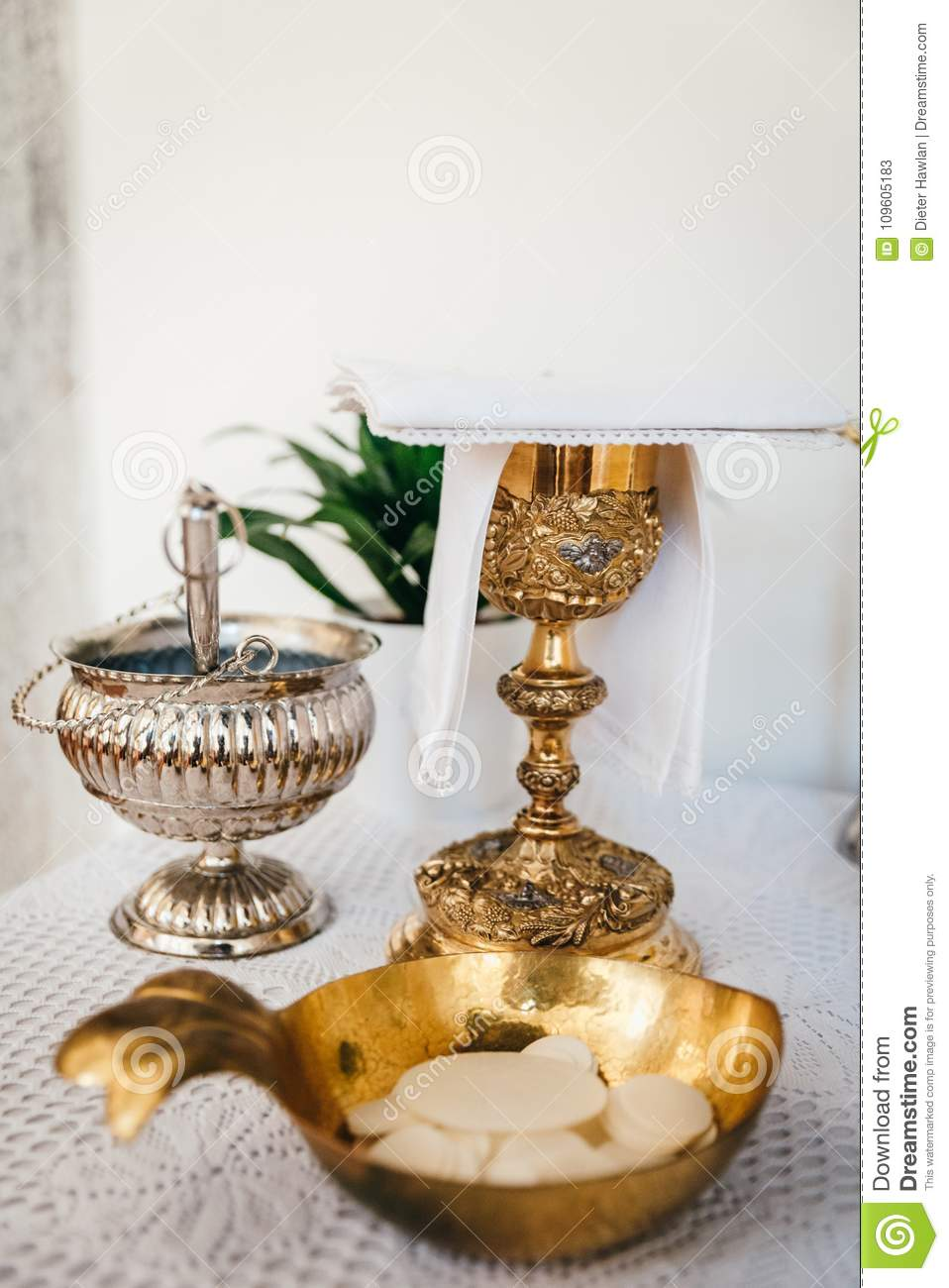 Altar and liturgy stock image  Image of golden, table