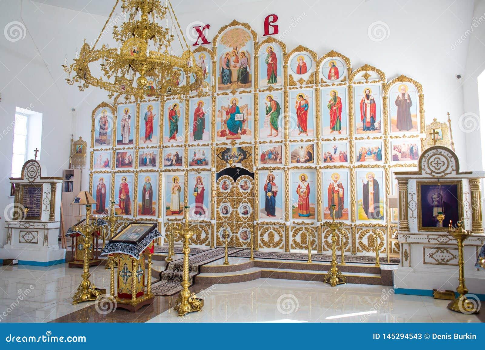Orenburg, Russian Federation-2 Aprel 2019. altar in the Orthodox Church