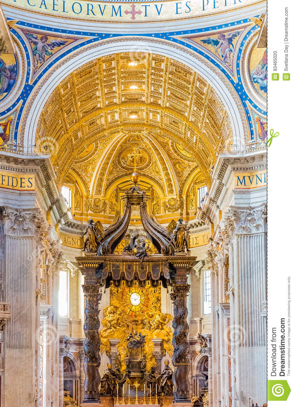 The altar of Saint Peter`s Basilica in Vatican