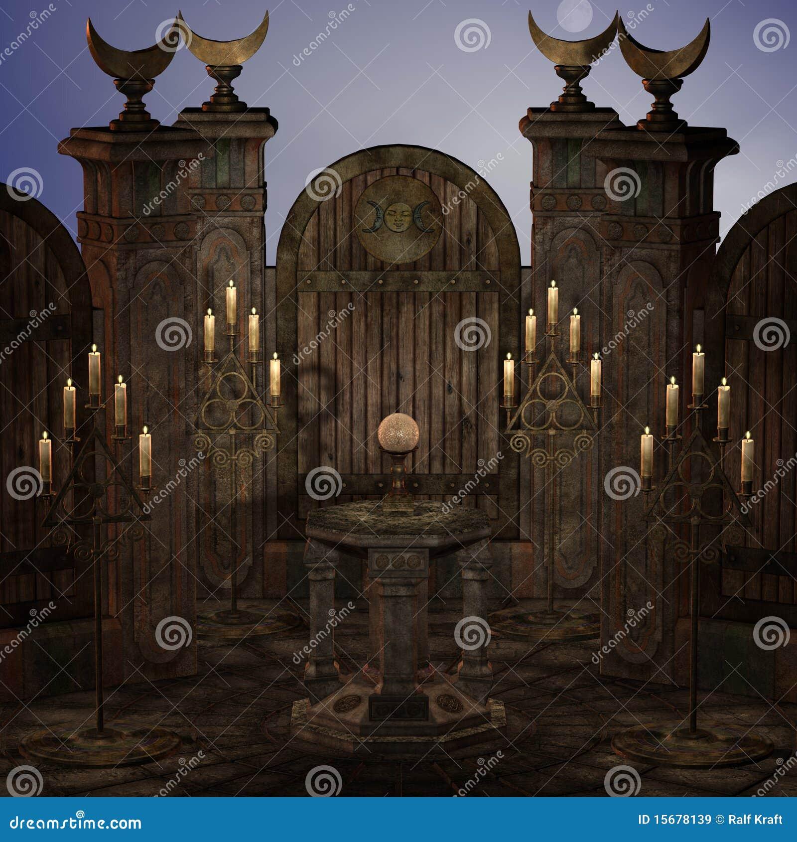 Altare o sanctum arcaico in una regolazione di fantasia