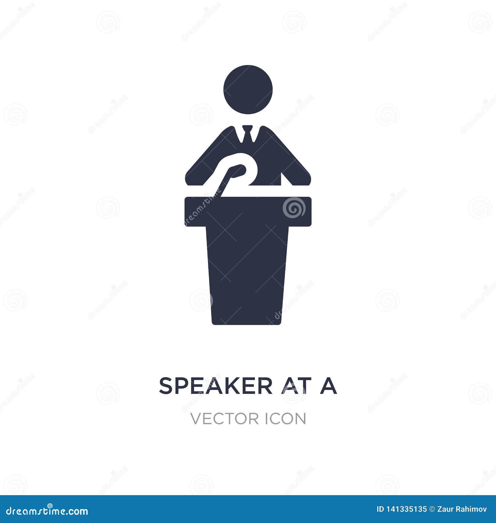 Altavoz en un icono de la conferencia en el fondo blanco Ejemplo simple del elemento del concepto de la gente