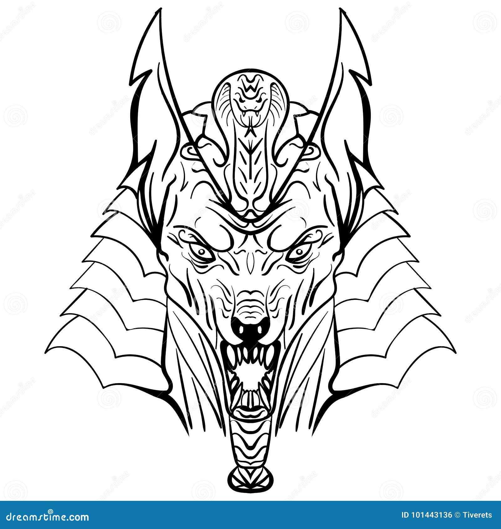 Alte Agyptische Gott Anubis Kopfillustration Vektor Abbildung