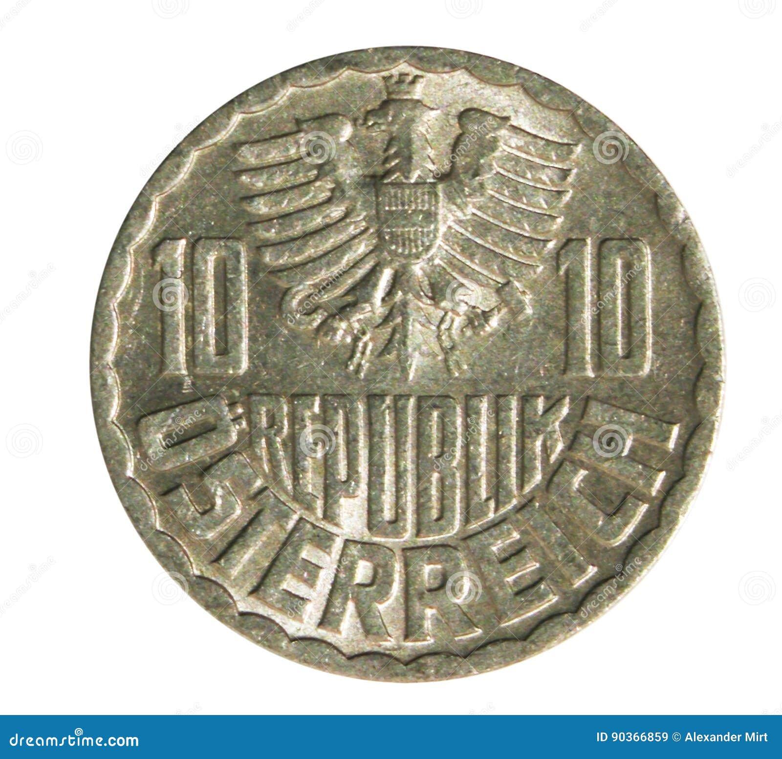 Alte österreichische Münze Mit 10 Groschen Lokalisiert Auf Weiß