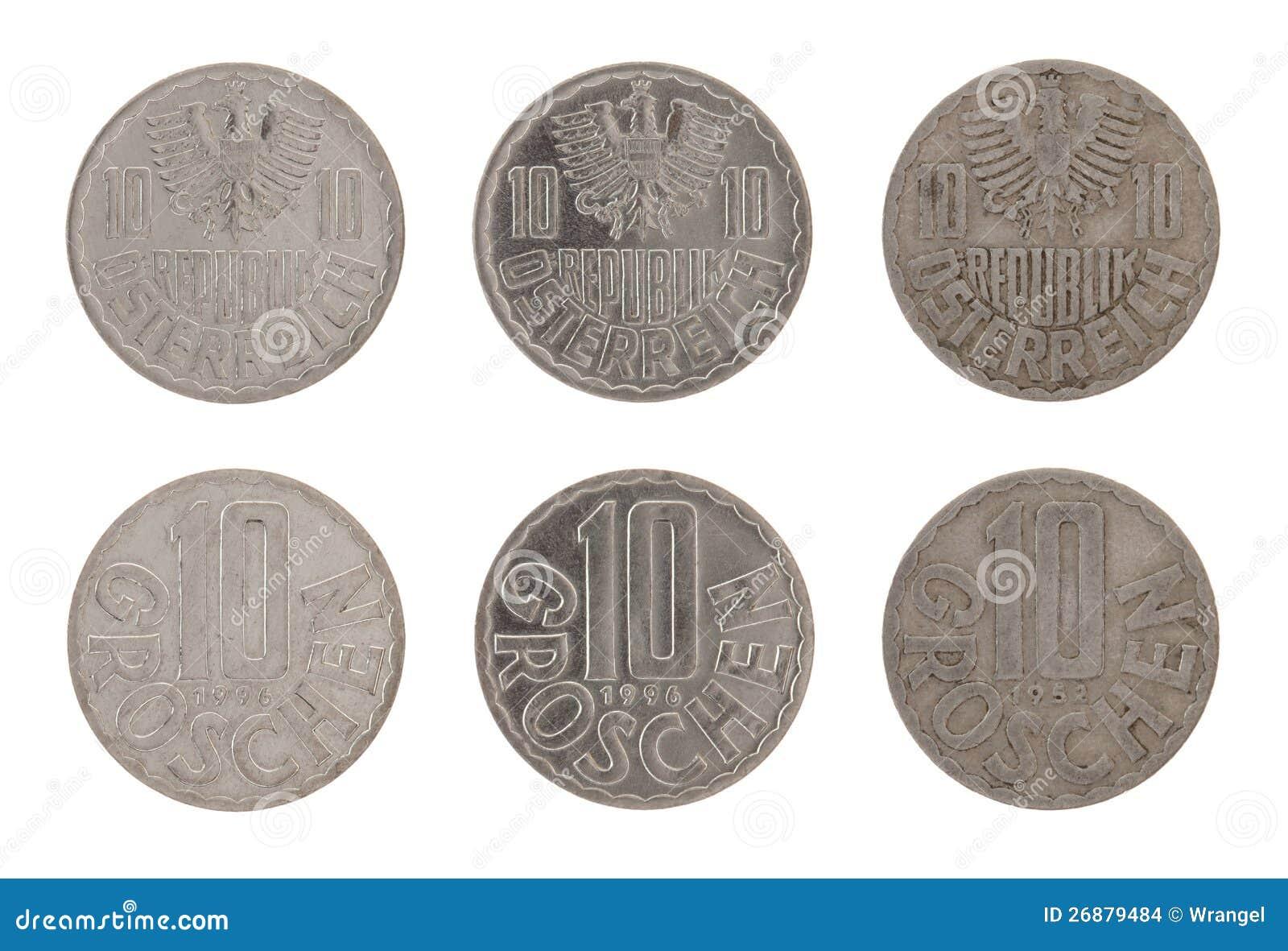 Alte österreichische Münzen Getrennt Auf Weiß Stockfoto Bild Von