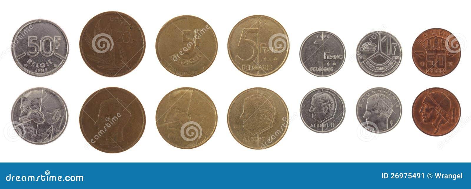 Alte Belgische Münzen Getrennt Auf Weiß Stockbild Bild Von Viele