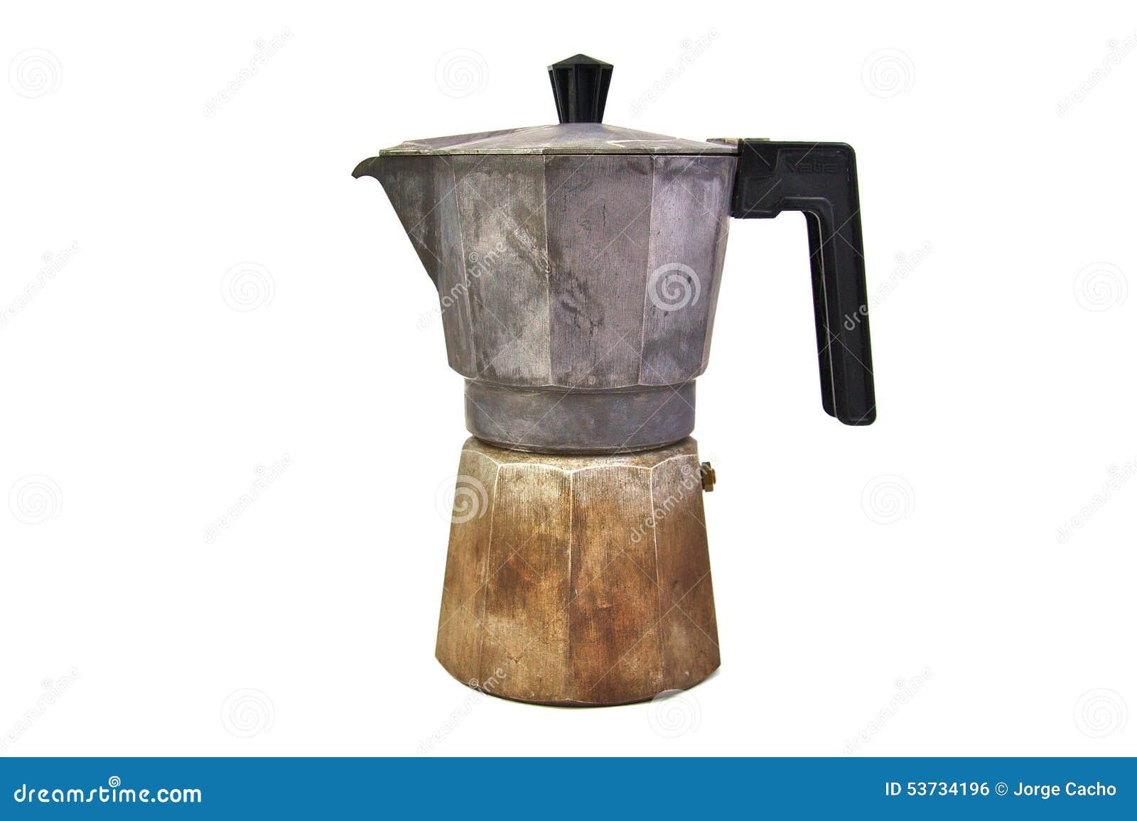 alte benutzte und rostige italienische kaffeemaschine lokalisiert stockfoto bild 53734196. Black Bedroom Furniture Sets. Home Design Ideas