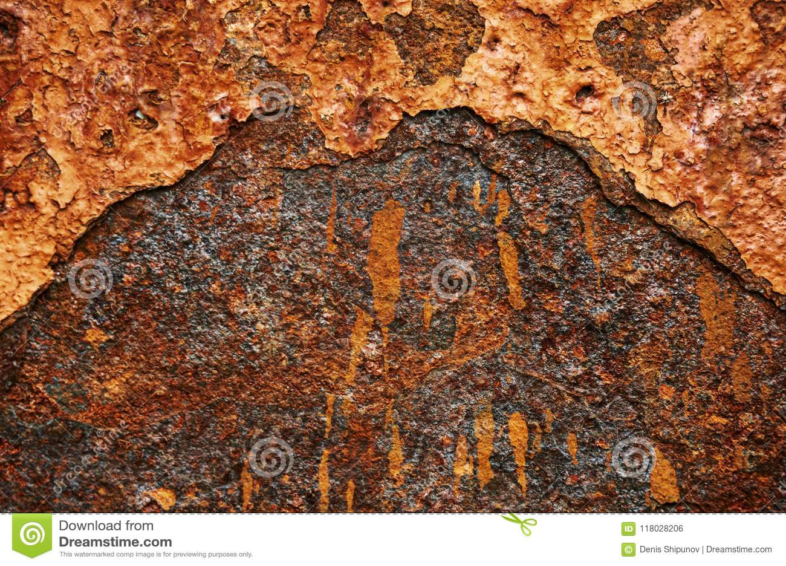 Alte Blechtafel des Eisens mit Rost Zusammenfassungshintergrund