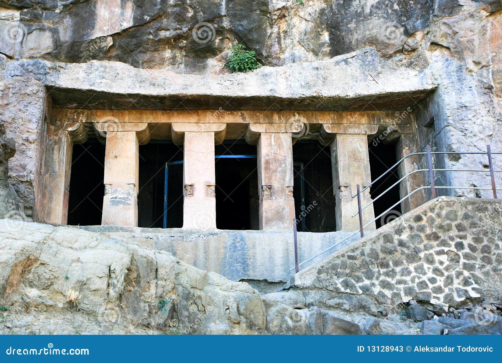 Alte Buddhistische Felsentempel Bei Ajanta Stockfotos