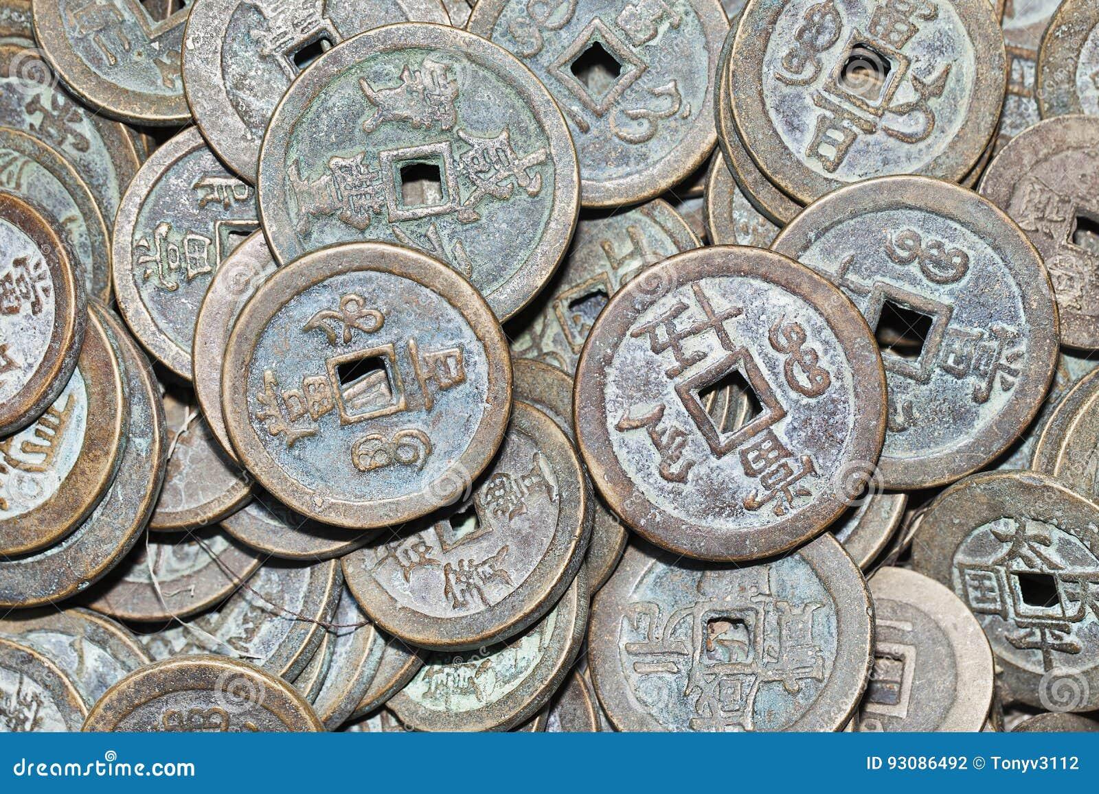 Alte Chinesische Münzen Der Sammlung Stockfoto Bild Von Markt