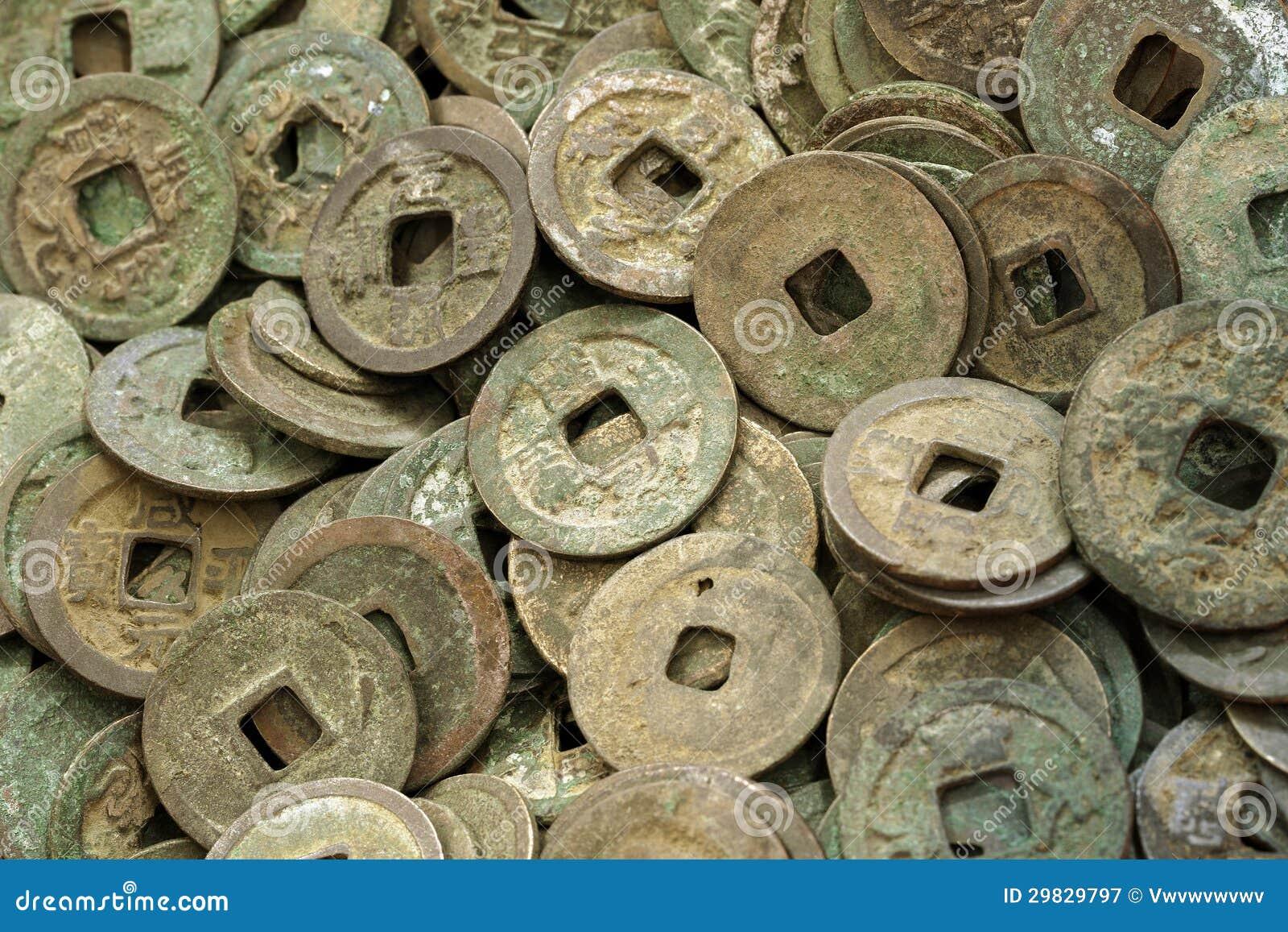 Alte Chinesische Münzen Stockbild Bild Von Münzen Verteilen 29829797