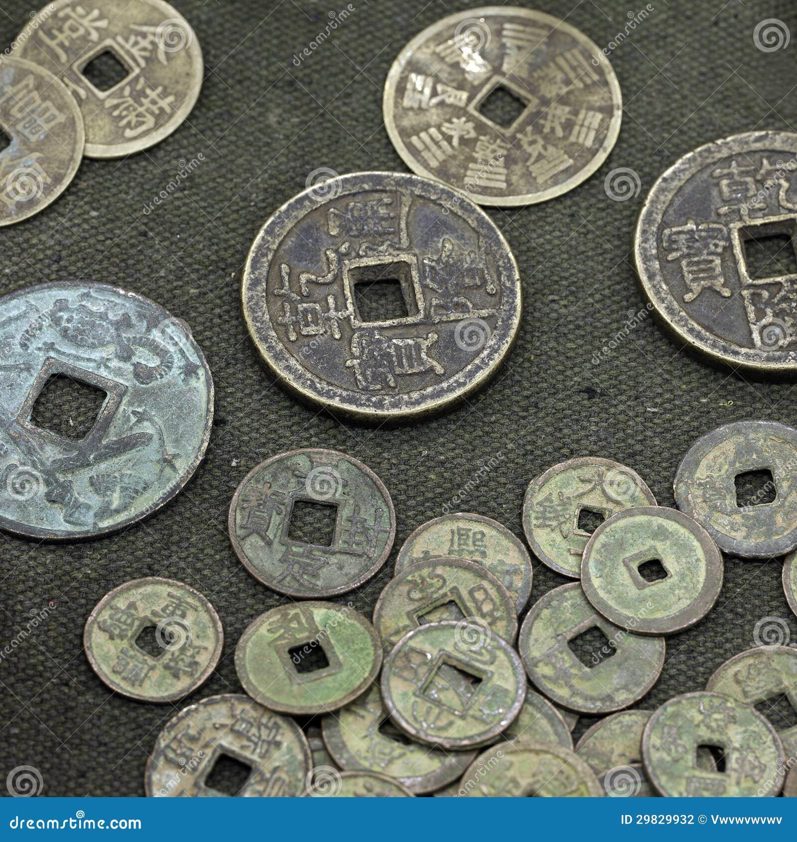 Alte Chinesische Münzen Stockfoto Bild Von Verteilen 29829932