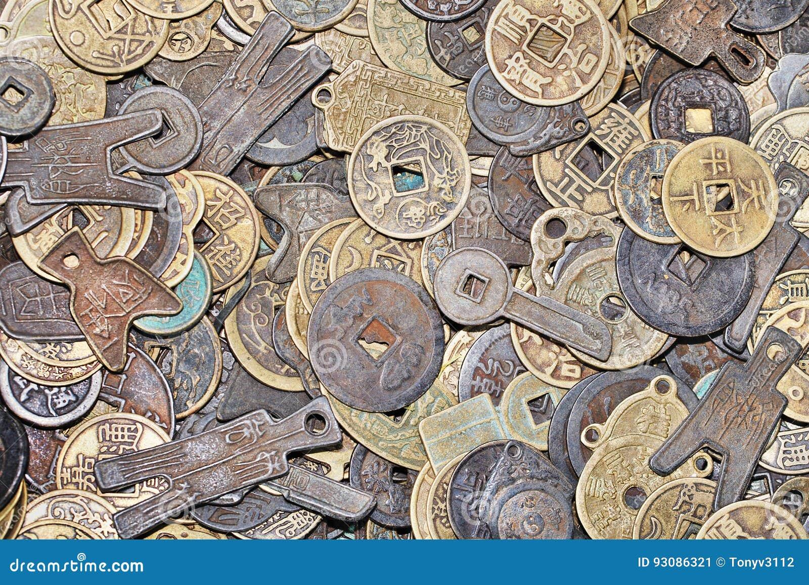 Alte Chinesische Münzen Mit Verschiedenen Formen Und Formen