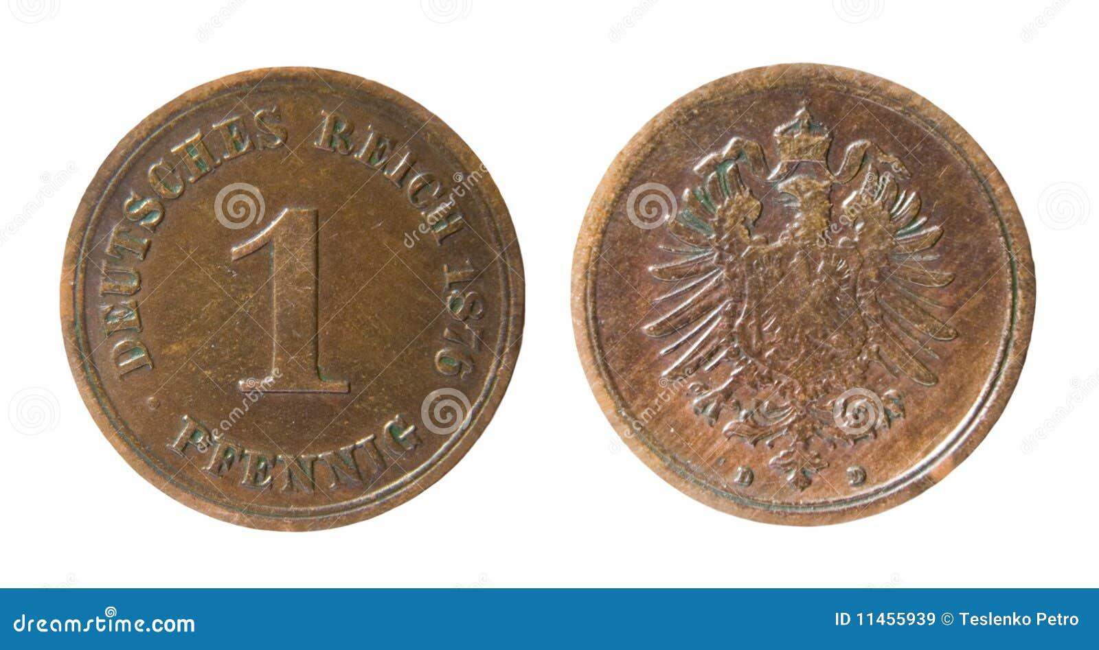 Alte Deutsche Münze Stockbild Bild Von Weiß Rückseite 11455939