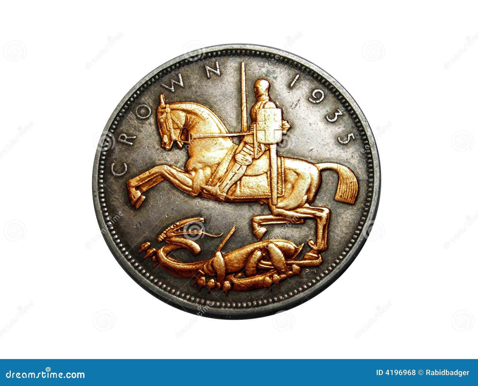 Alte Englische Münze Stockfoto Bild Von Penny Krone 4196968