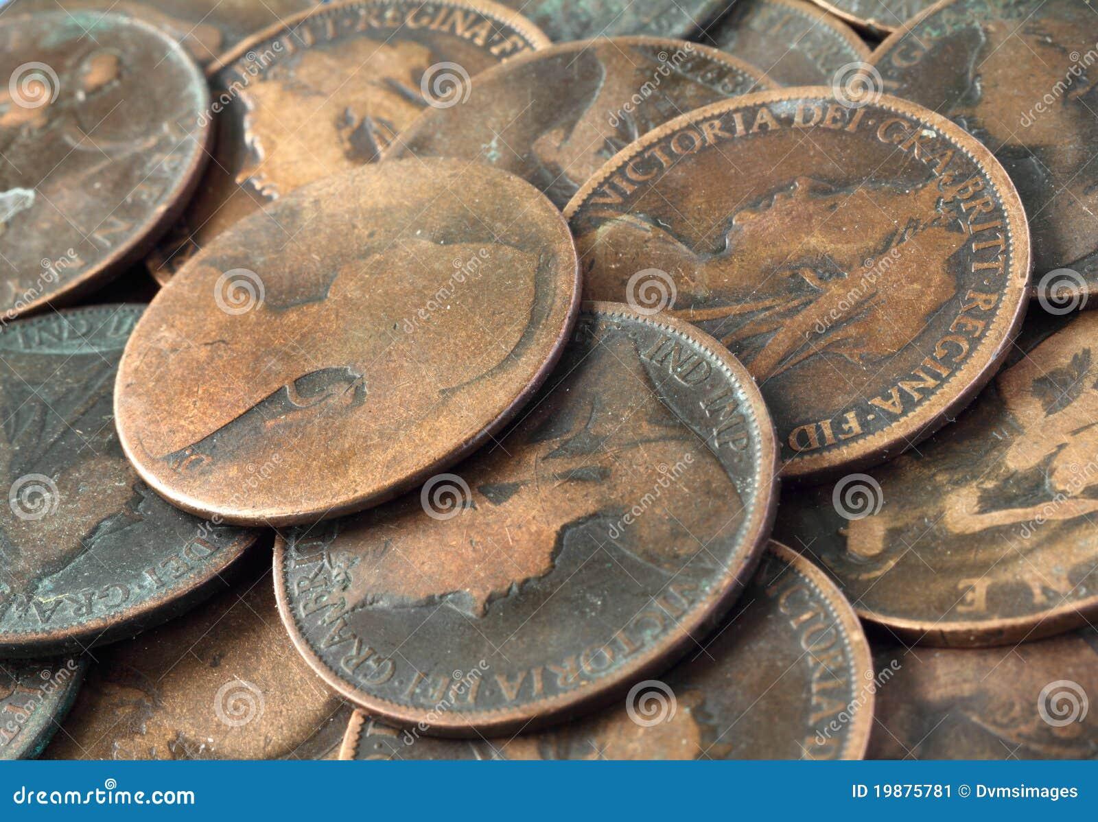 Alte Englische Münzen Stockbild Bild Von Metall Bargeld 19875781