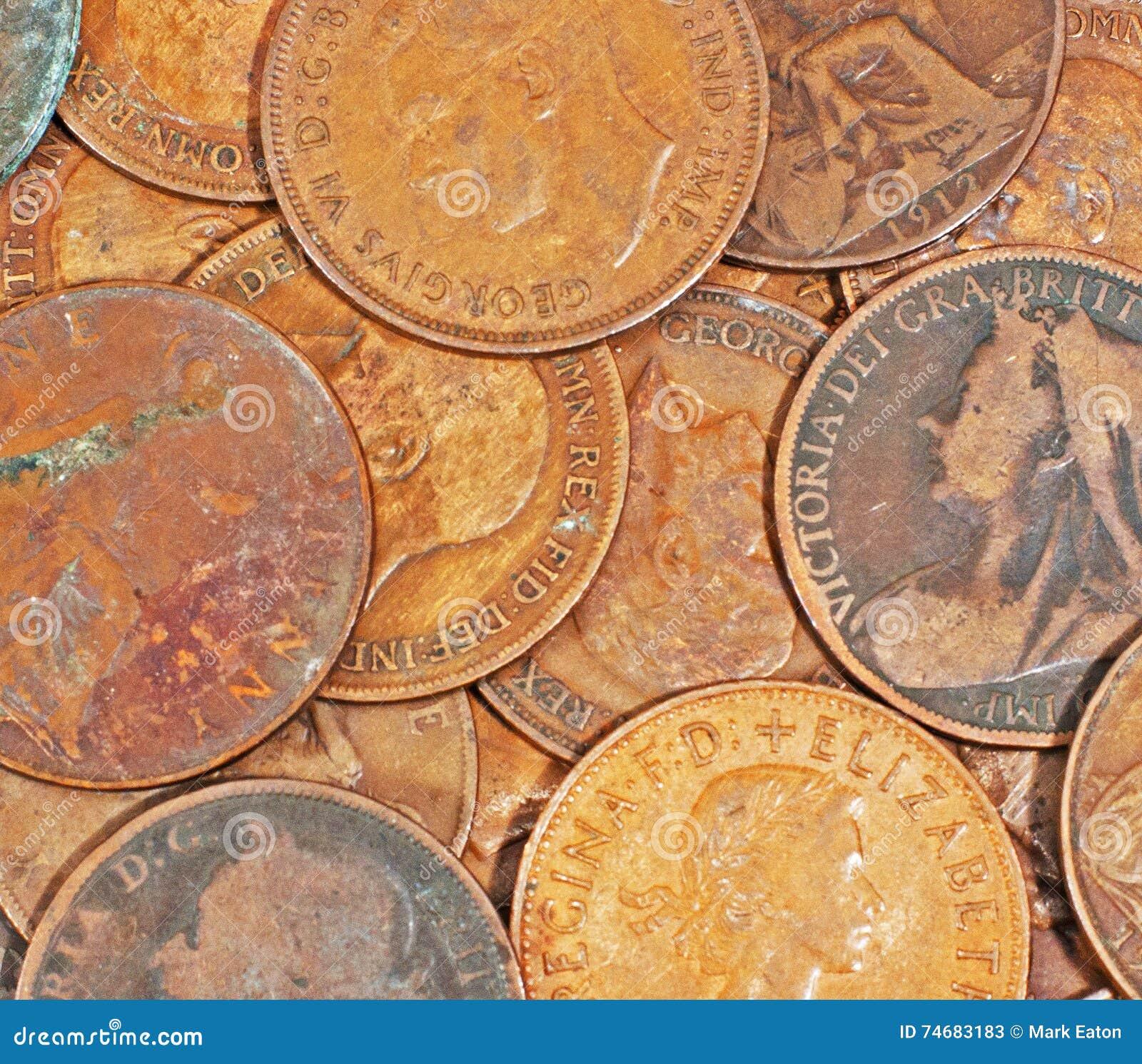 Alte Englische Pennys Stockbild Bild Von Münzen Münze 74683183