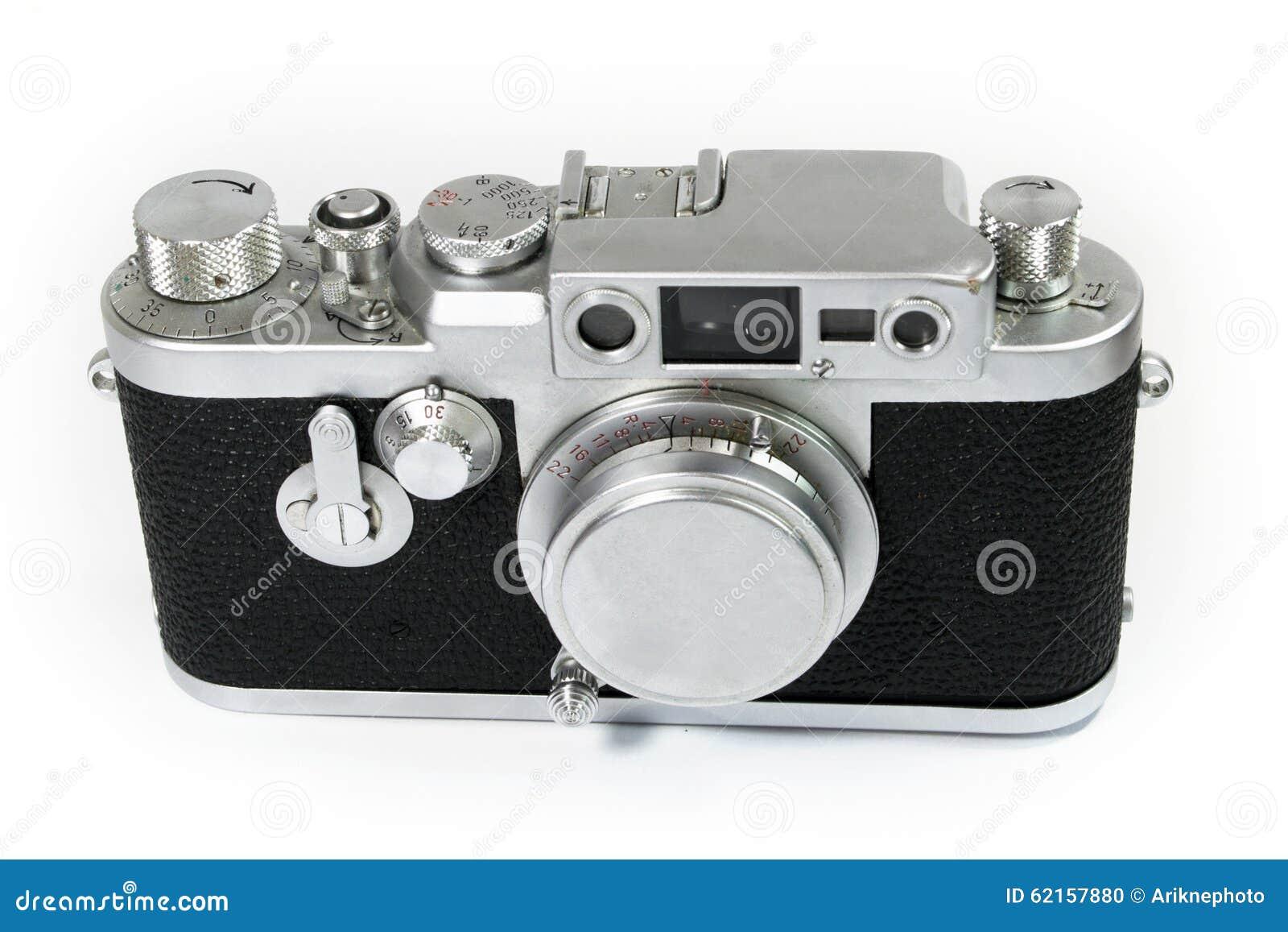 Alte entfernungsmesser kamera mit linsen kappe stockfoto bild