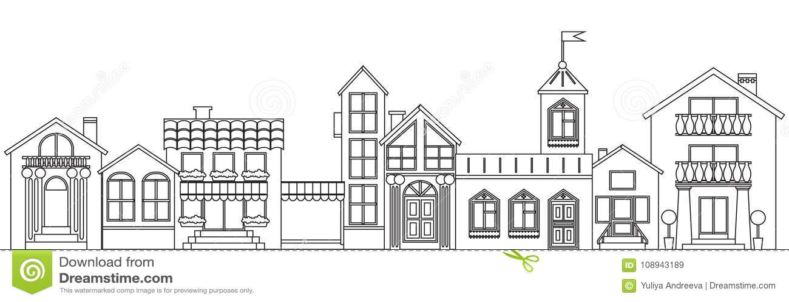 Alte europäische Stadtkontur Der lokalisierte Vektor bringt Entwurfsillustration unter