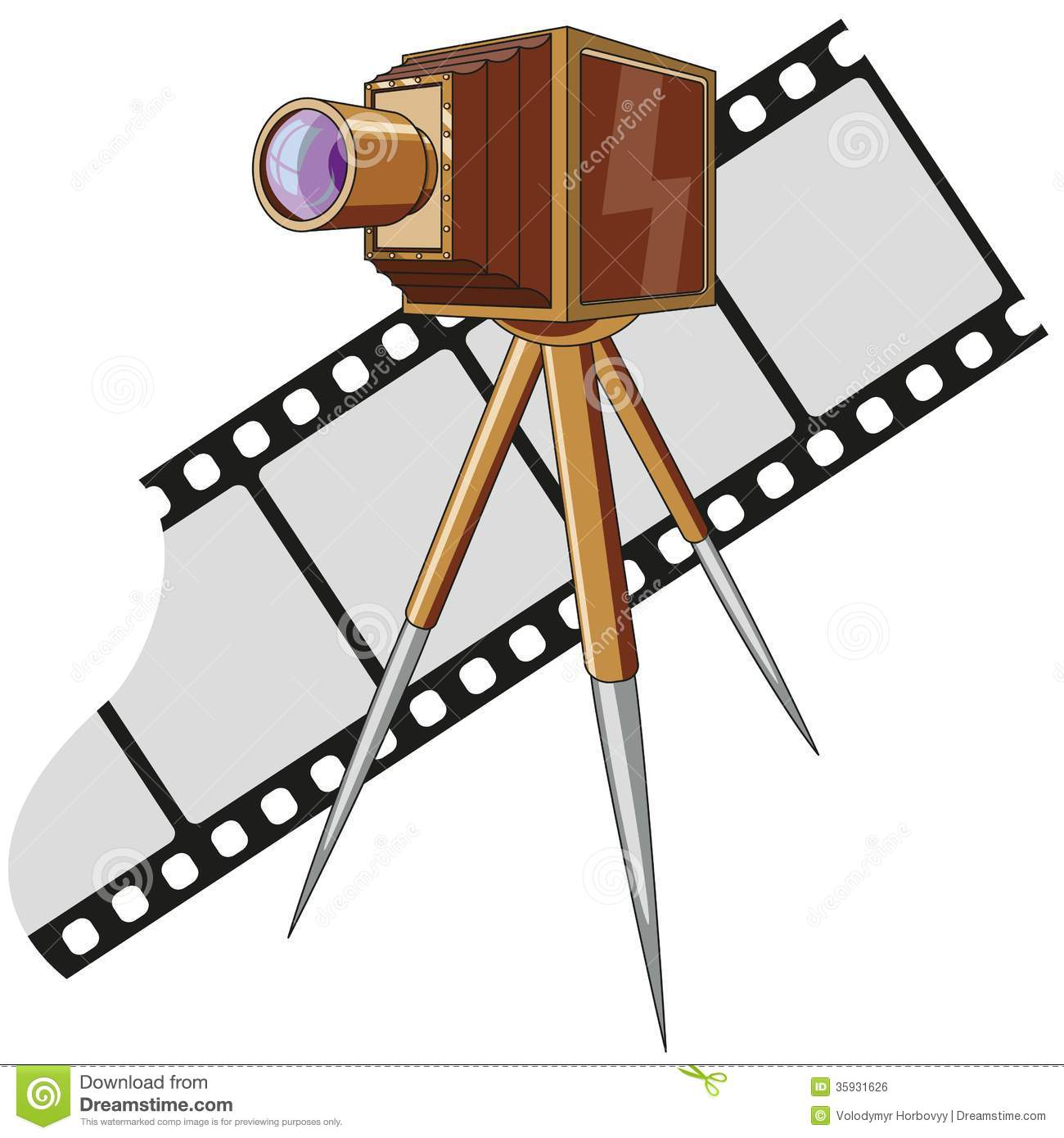 Old Fashioned Movie Film With Camers Clipart