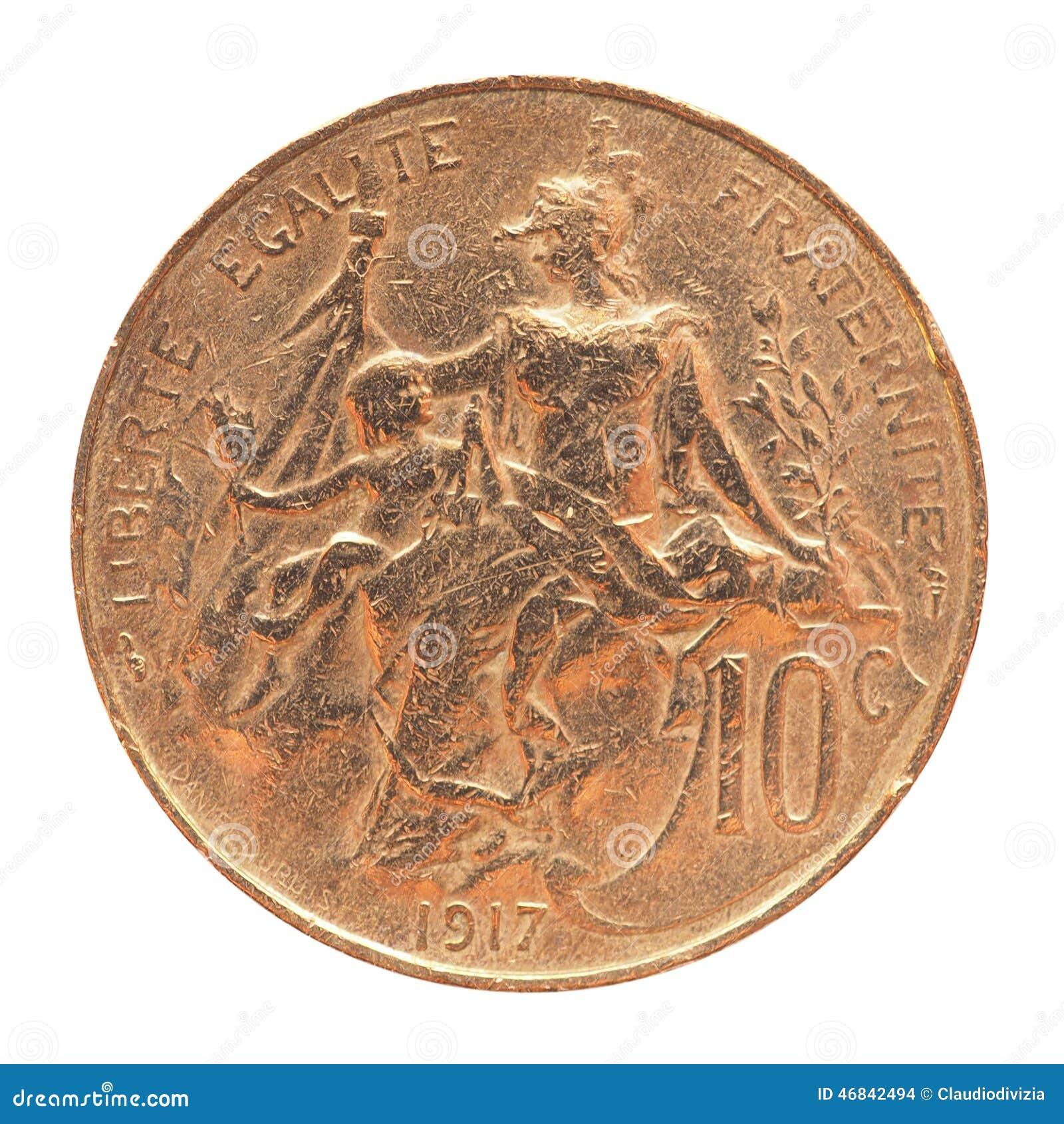 Alte Französische Münze Stockfoto Bild Von Getrennt 46842494