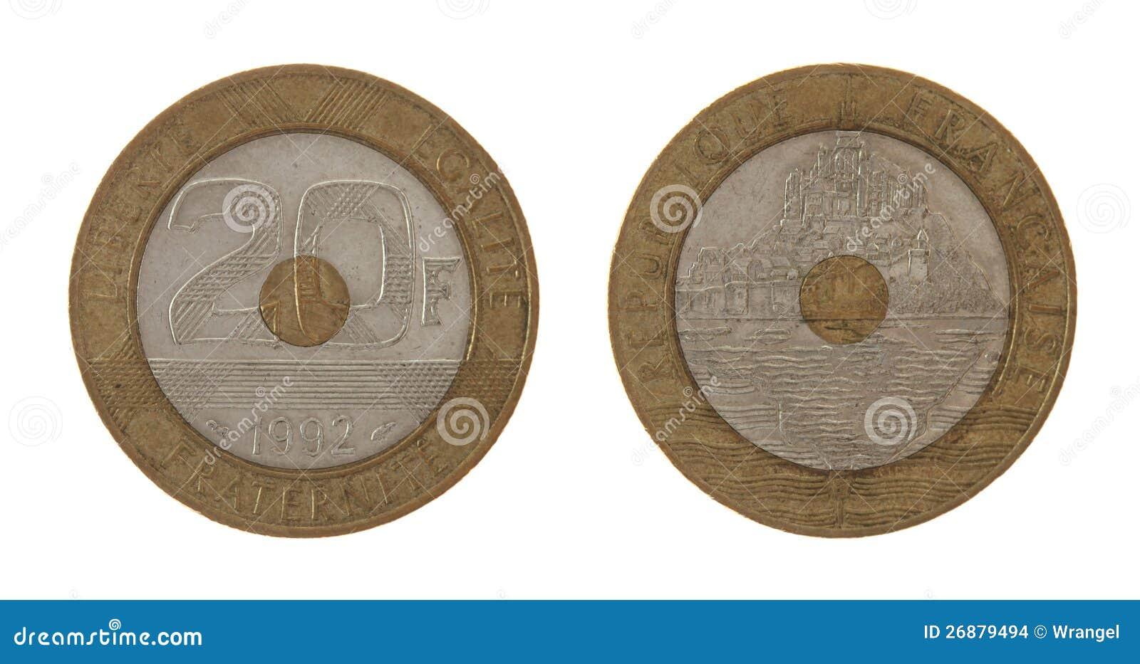 Alte Französische Münze Getrennt Auf Weiß Stockfoto Bild Von Makro