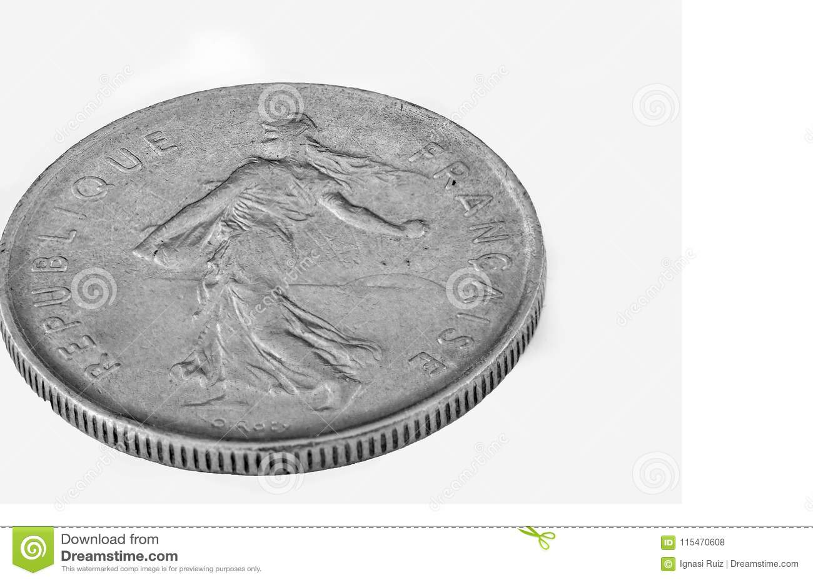 Alte Französische Münze Lokalisiertes Makro Stockfoto Bild Von
