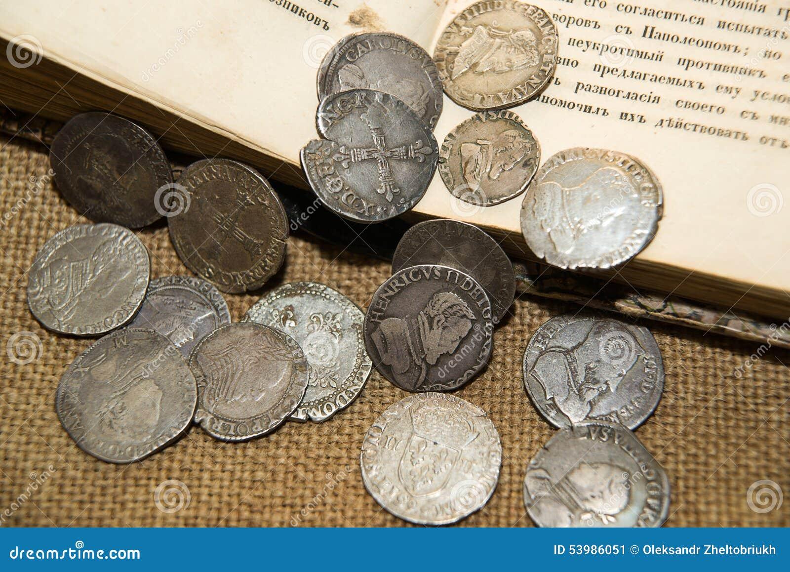 Alte Französische Silbermünzen Mit Porträts Von Königen Auf Dem