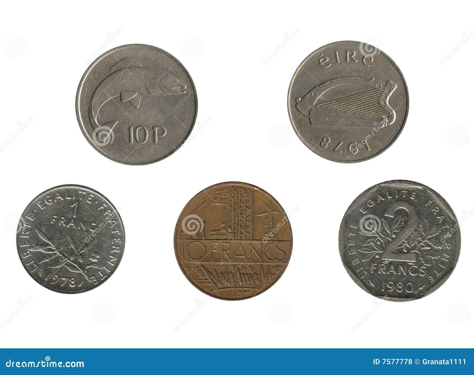 Alte Französische Und Irische Münzen Stockfoto Bild Von Bezahlung