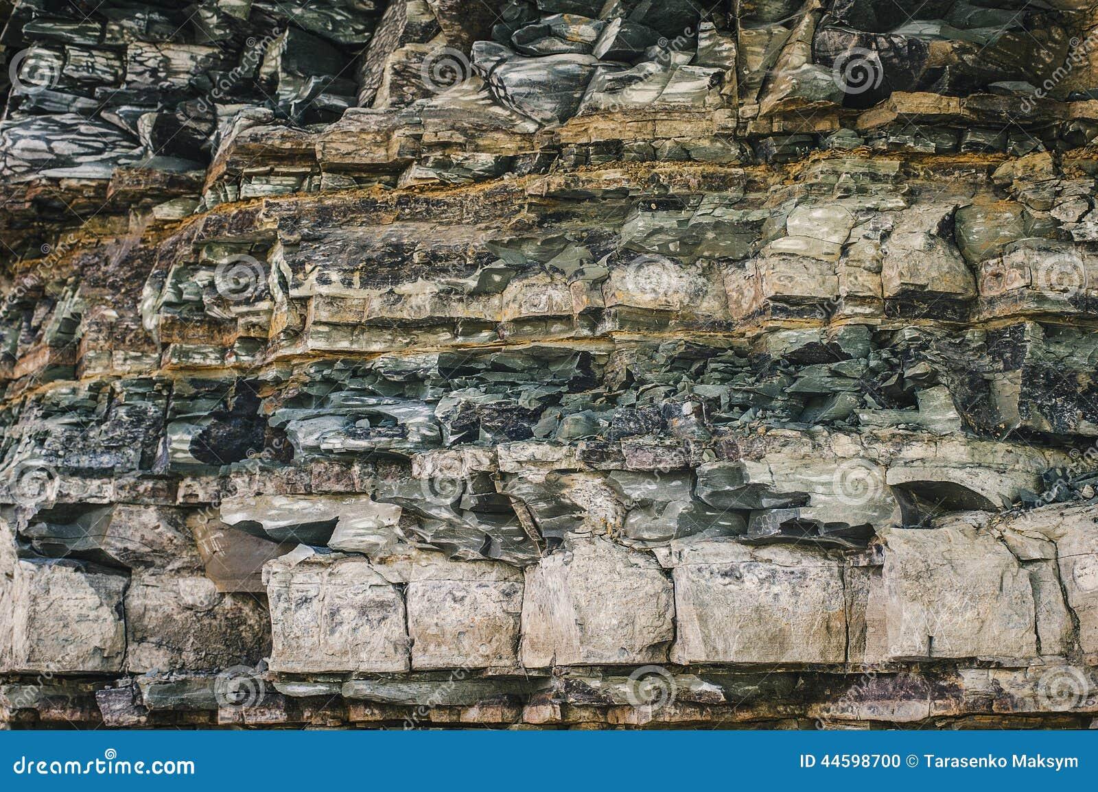 Alte Gesteinsschichtnahaufnahmeansicht