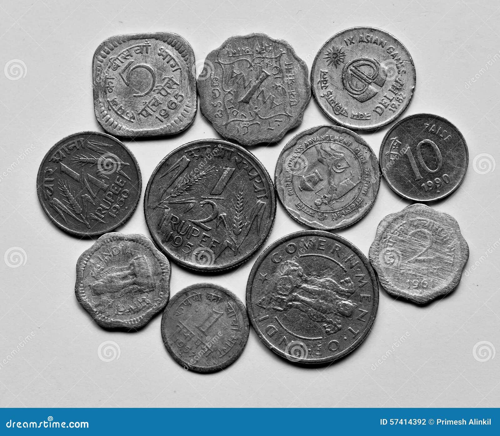 Alte Indische Münzen Stockfoto Bild Von Viertel Minister 57414392