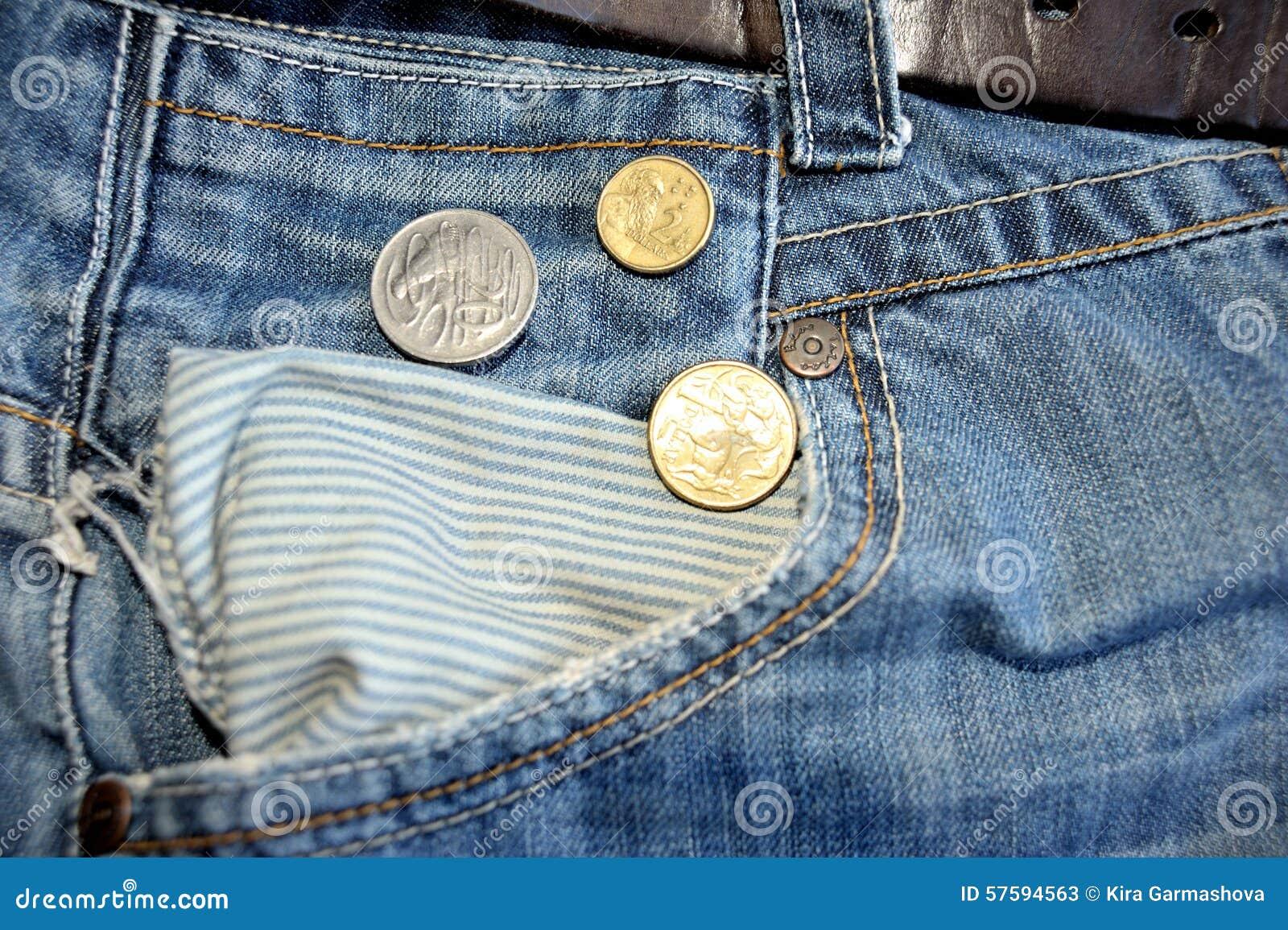 Alte Jeans Und Australische Dollar Münzen Stockbild Bild Von