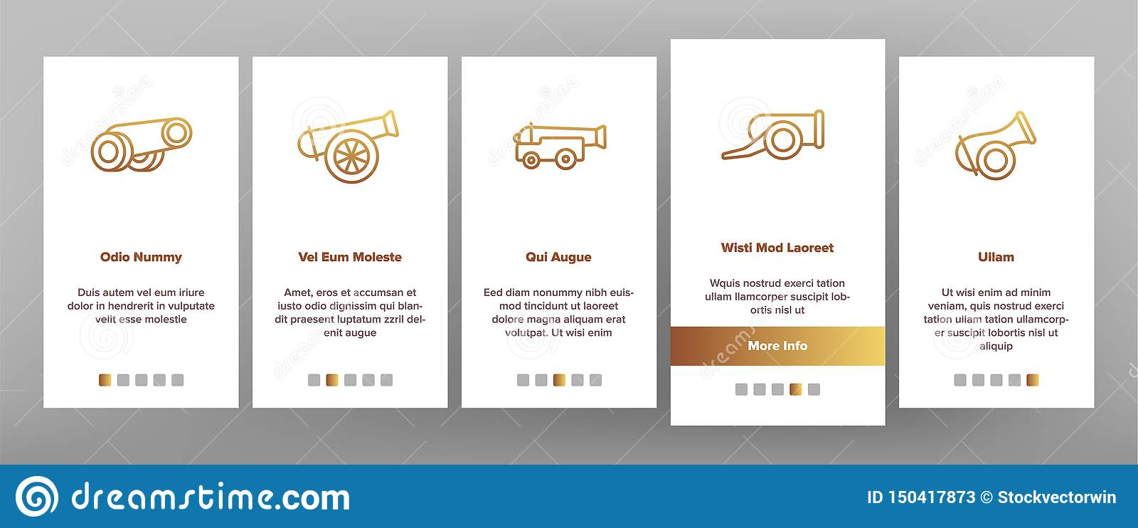 Alte Kanonen, App-Seiten-Schirm Artillerie-Vektor Onboarding mobiler