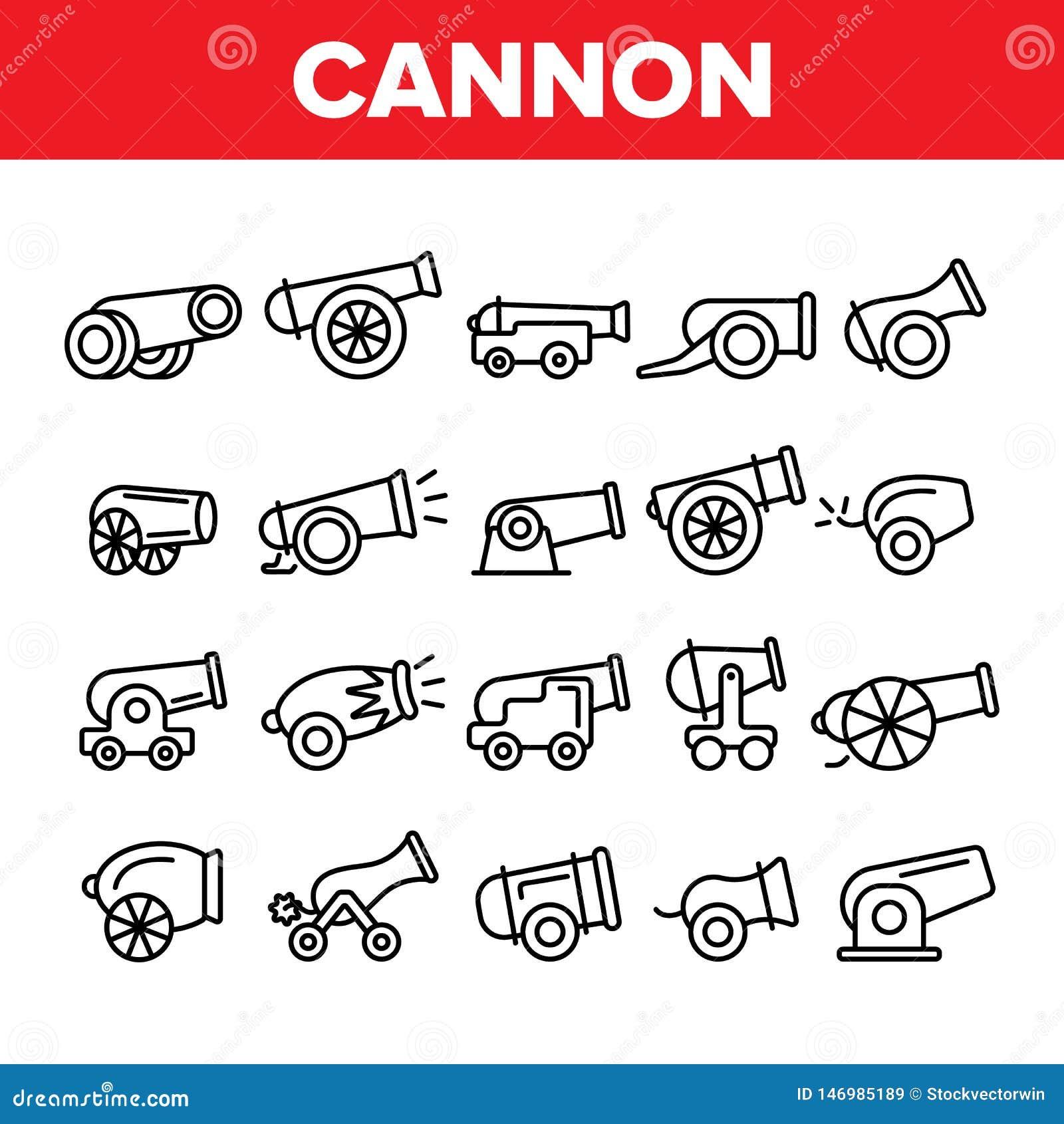 Alte Kanonen, Artillerie-linearer Ikonen-Vektor-Satz