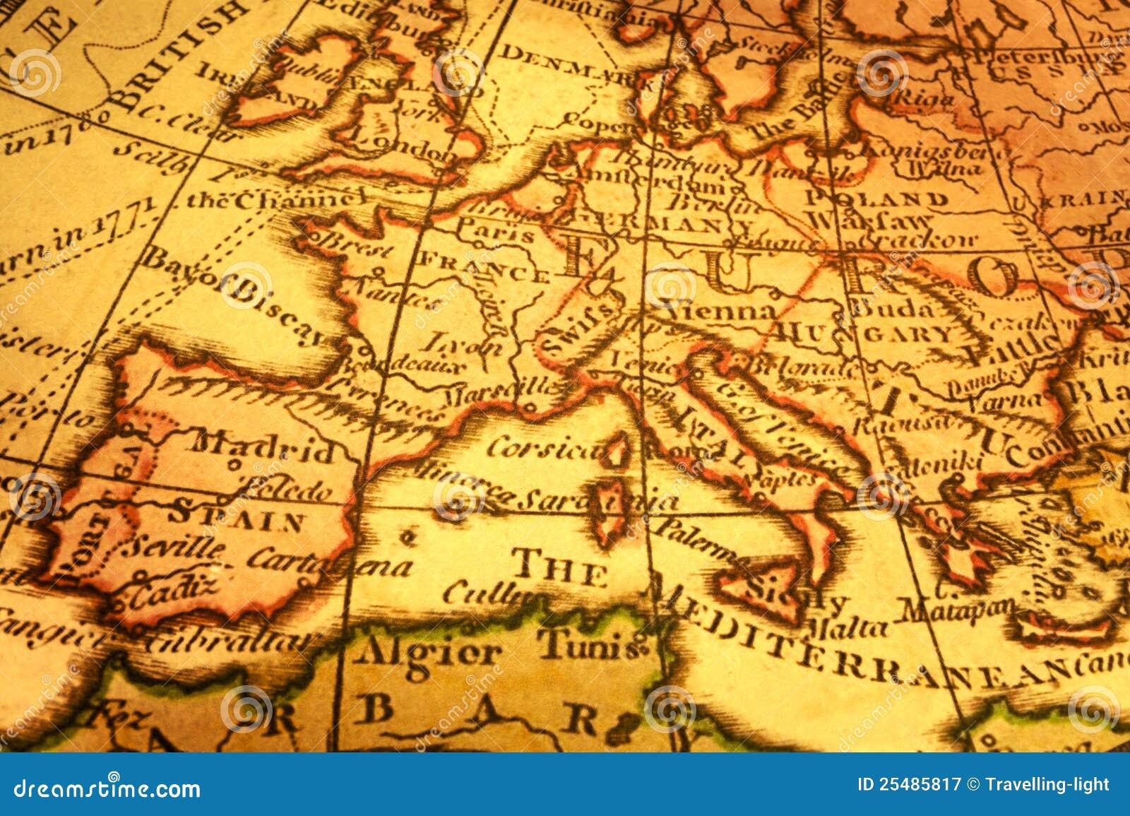 Mittelmeer Karte Europa.Alte Karte Von Europa Und Mittelmeer Stockbild Bild Von